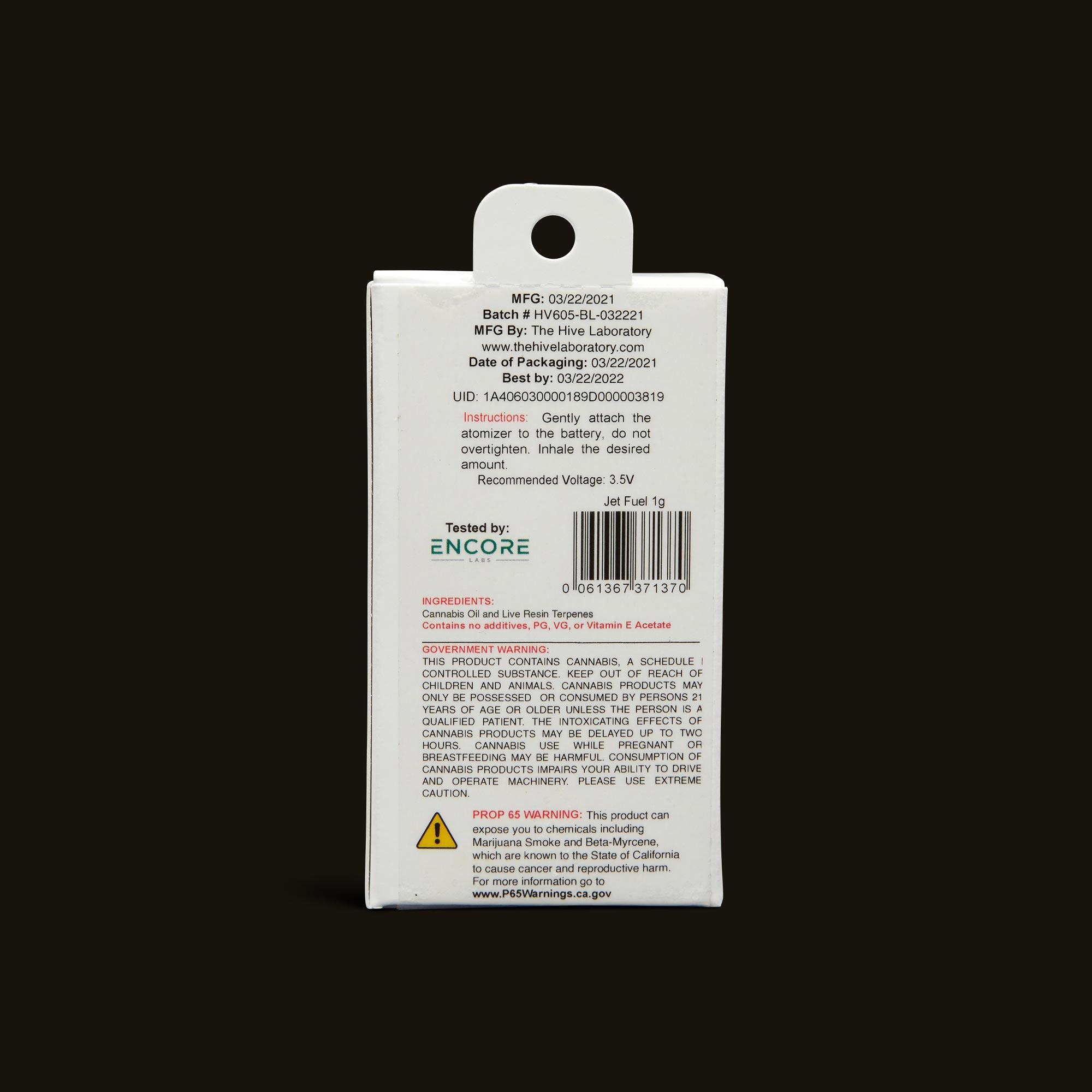 Bloom Brands Vape Pen - Jet Fuel Live Resin Cartridge - 1g