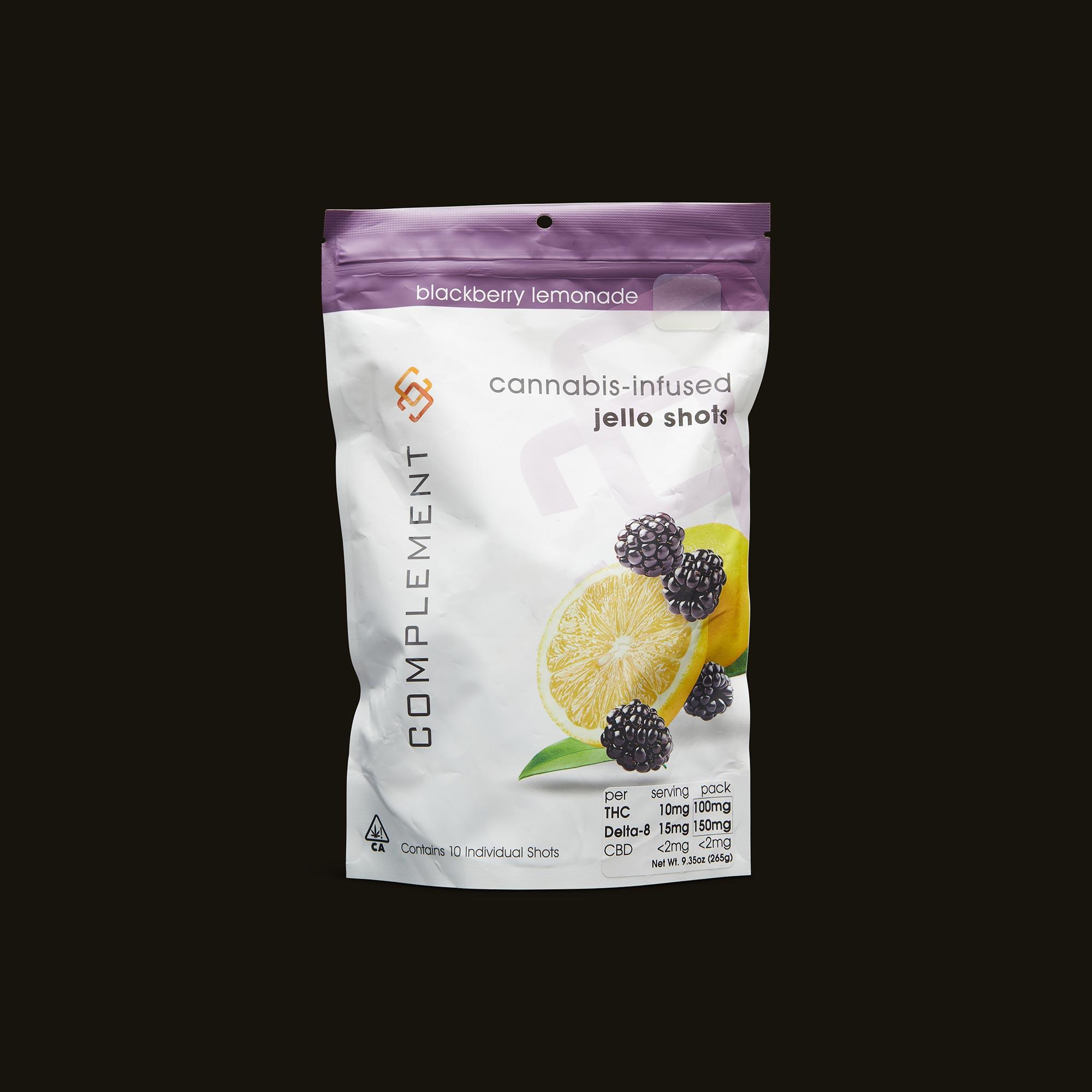 Blackberry Lemonade Jello Shots - 10 individual shots (100mg THC, 150mg Delta 8 THC, <2mg CBD)