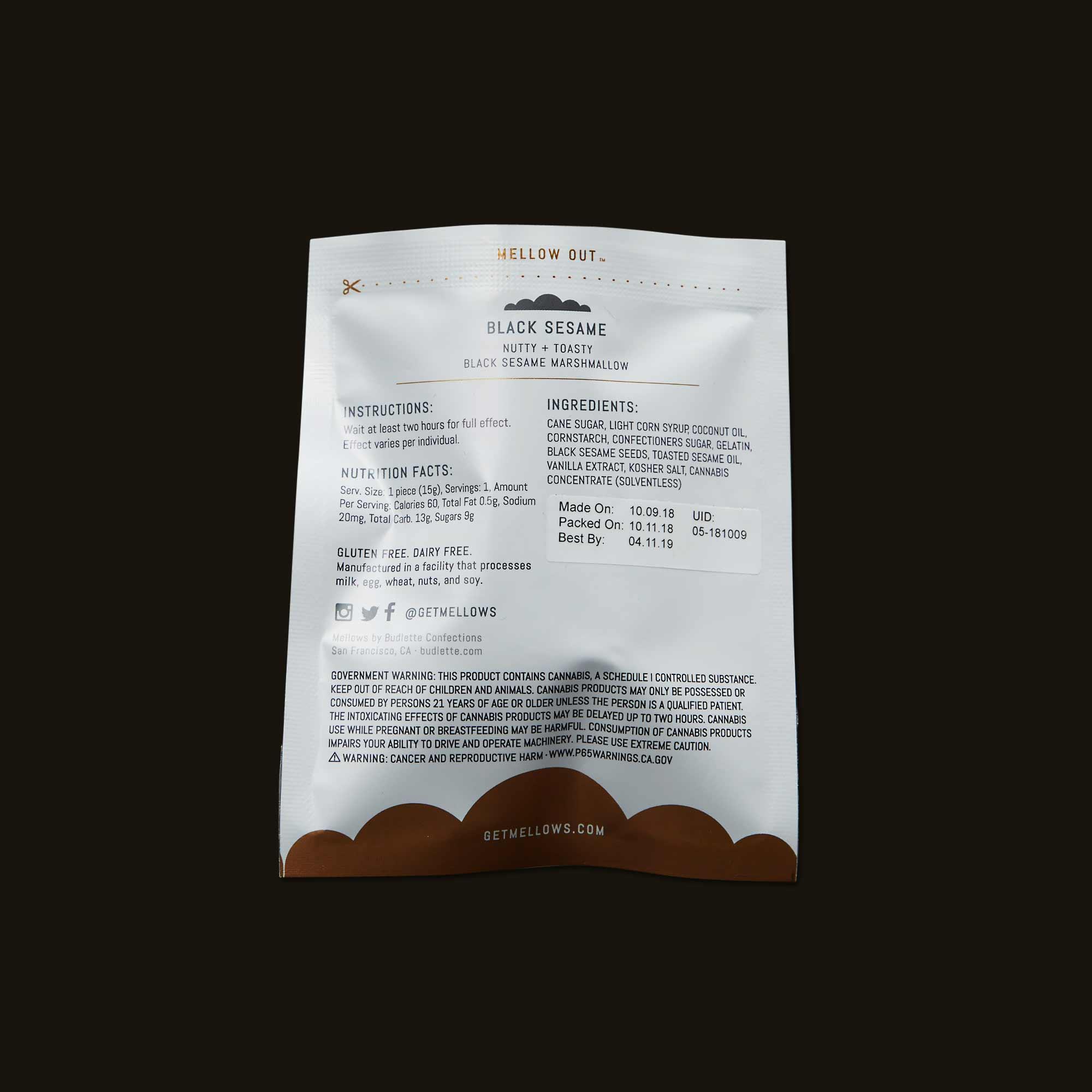 Mellows Edible - Black Sesame Mellows