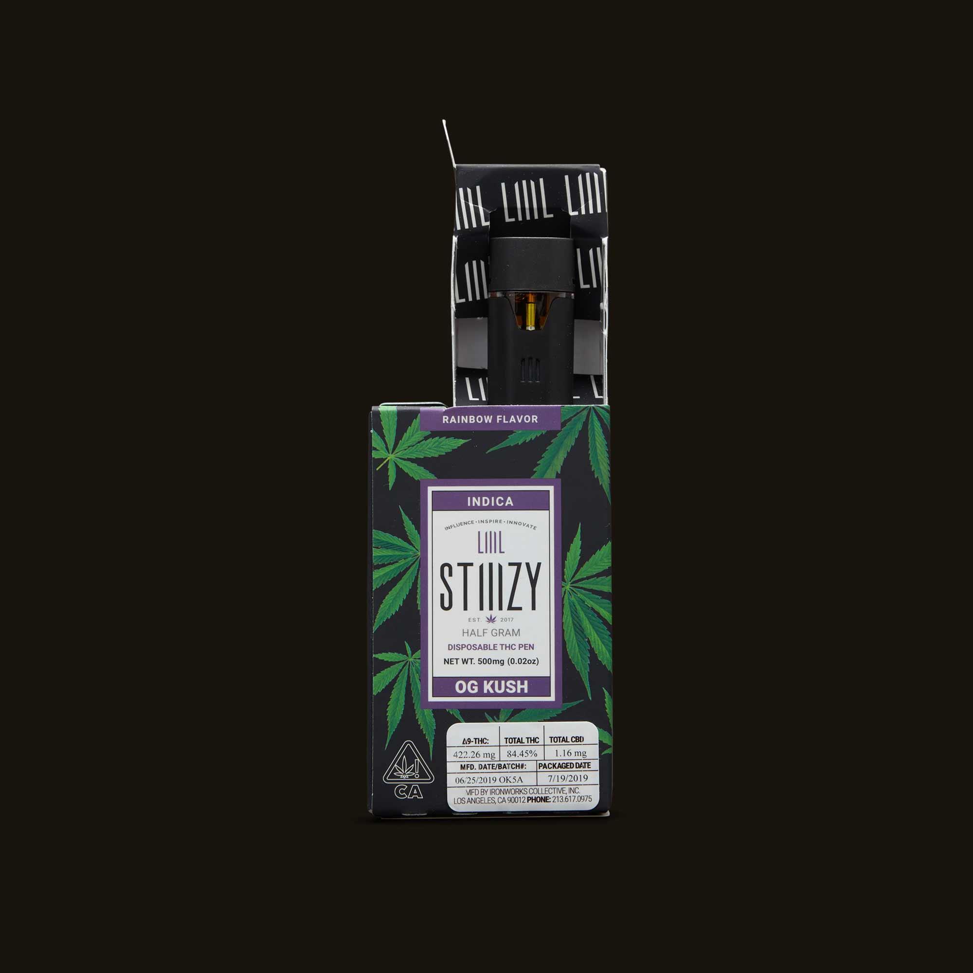 Stiiizy OG Kush Liiil Vape Pen packaging with label showing THC percentage