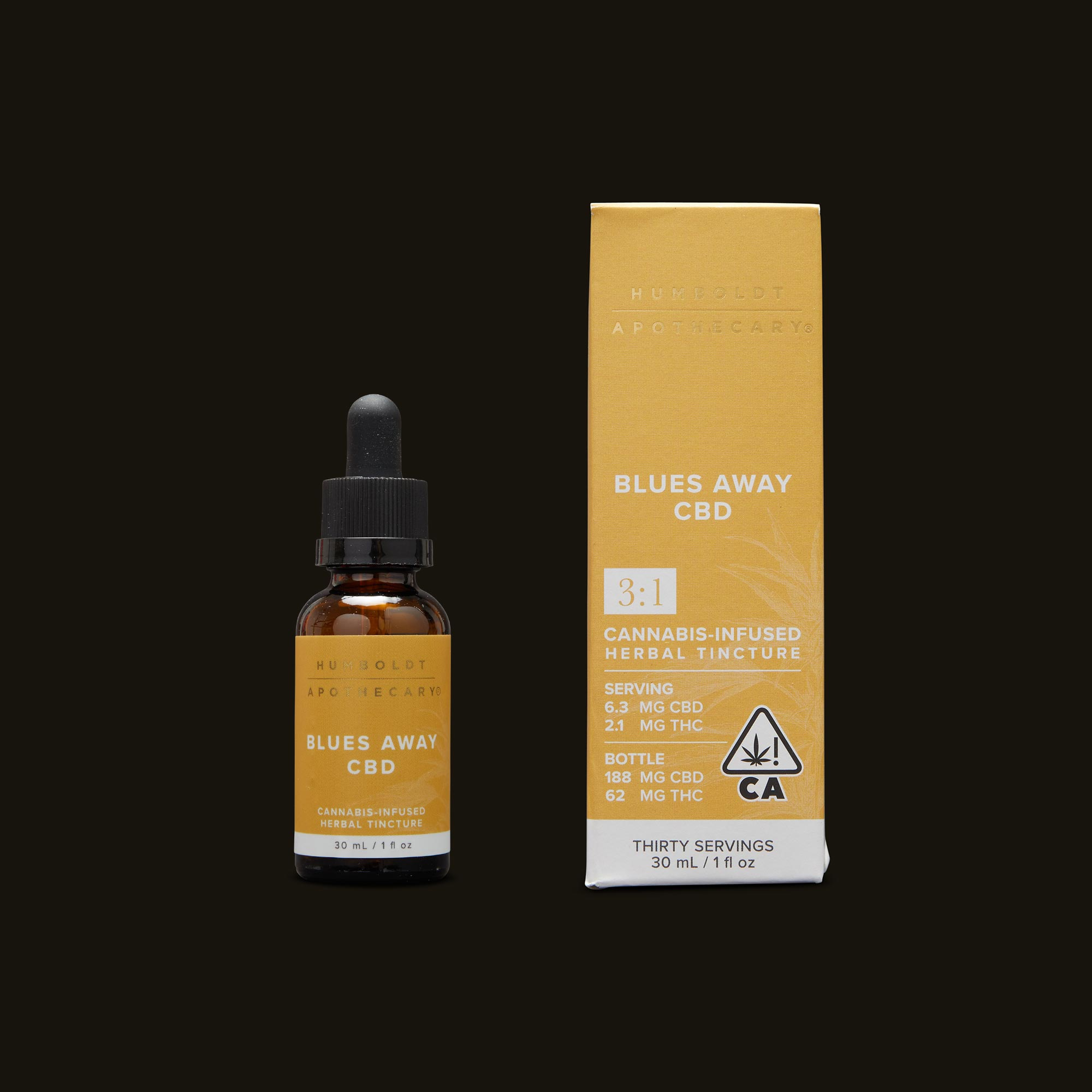 Humboldt Apothecary Blues Away CBD 3:1 Tincture and Packaging