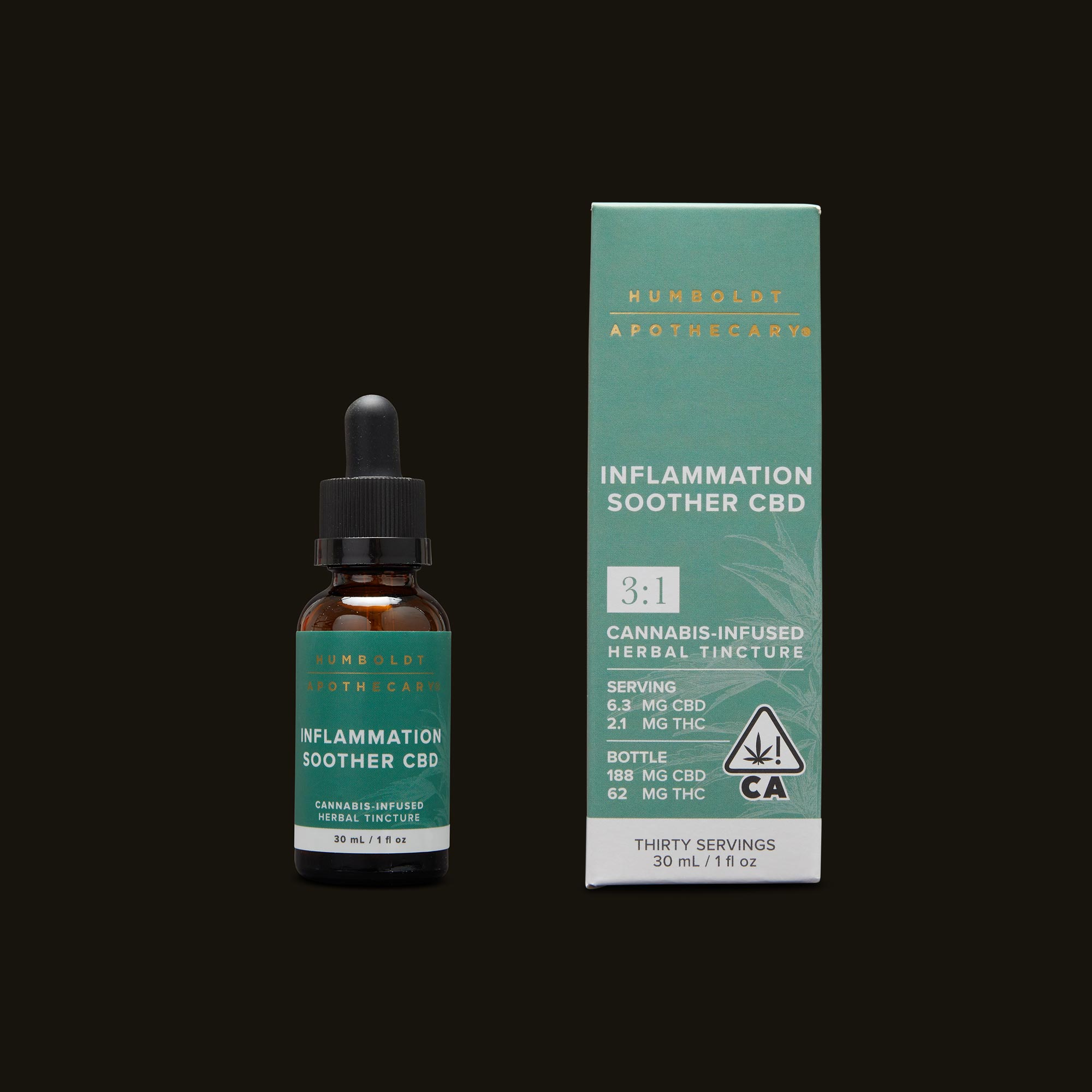 Humboldt Apothecary Inflammation Soother CBD 3:1 Tincture and Packaging
