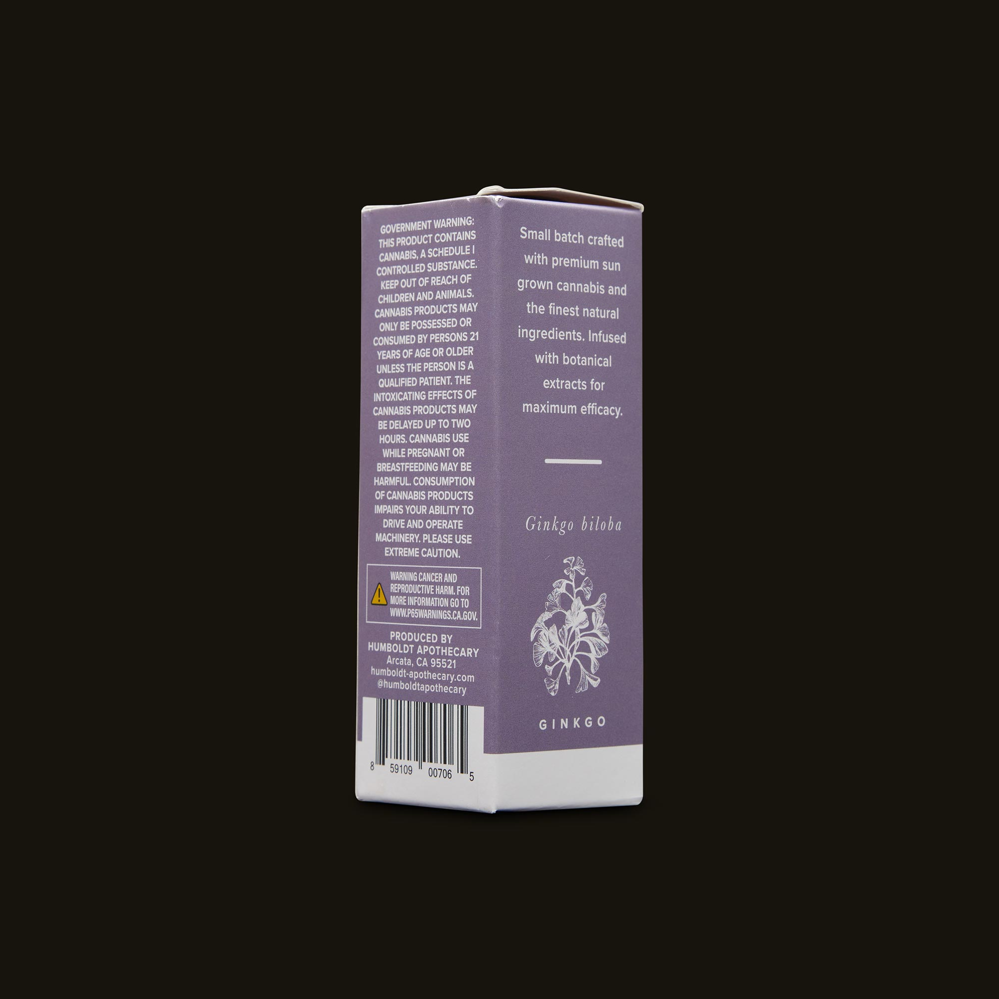 Humboldt Apothecary Brain Tonic CBD 1:1 Side Packaging