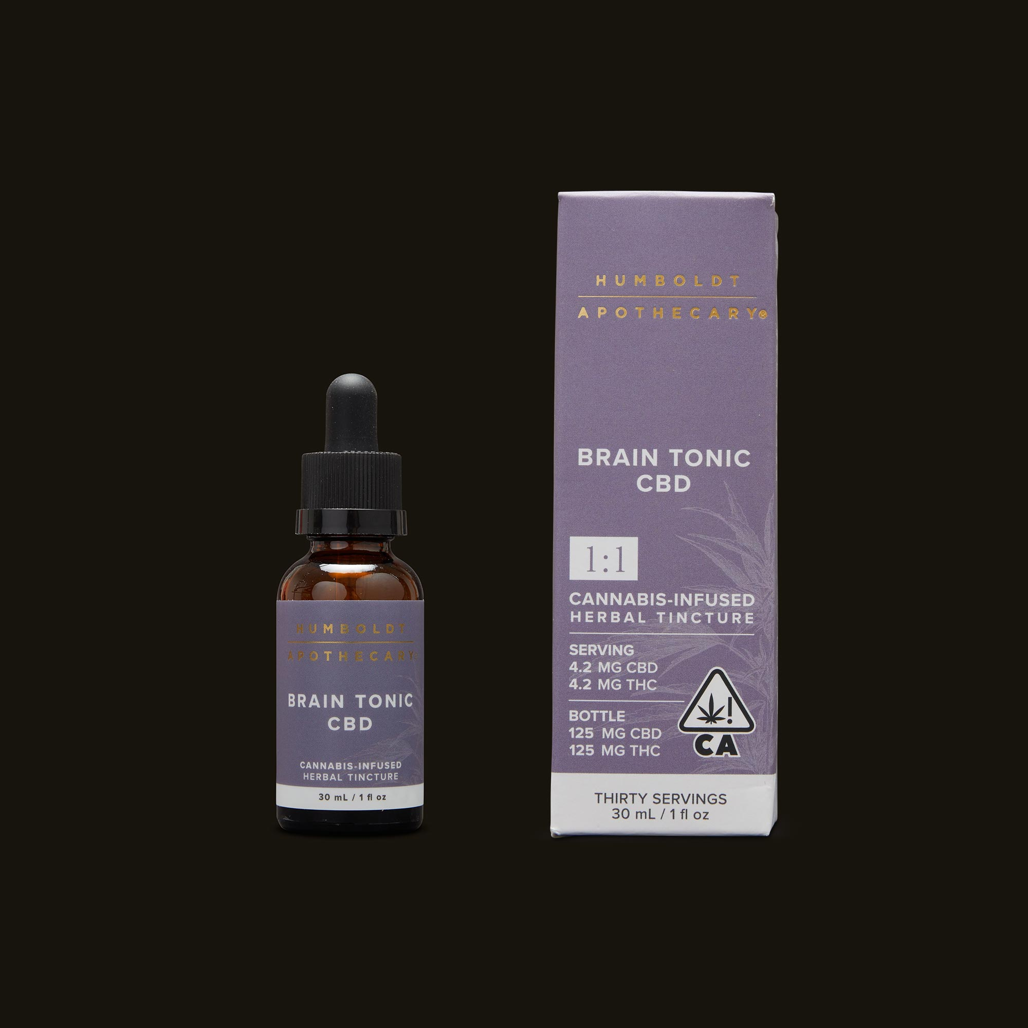 Humboldt Apothecary Brain Tonic CBD 1:1 Tincture and Packaging