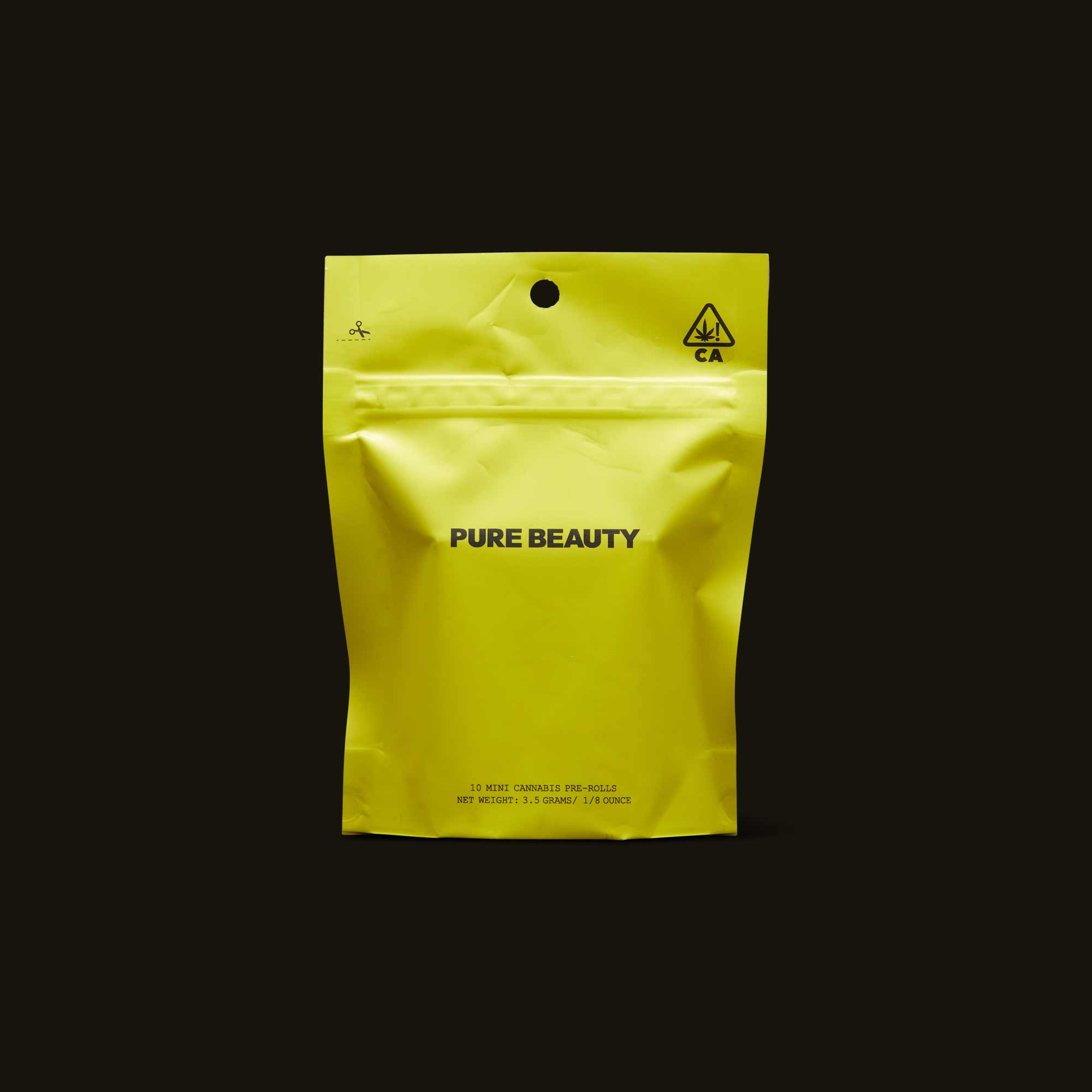 Pure Beauty yellow pre-roll sealed envelope packaging
