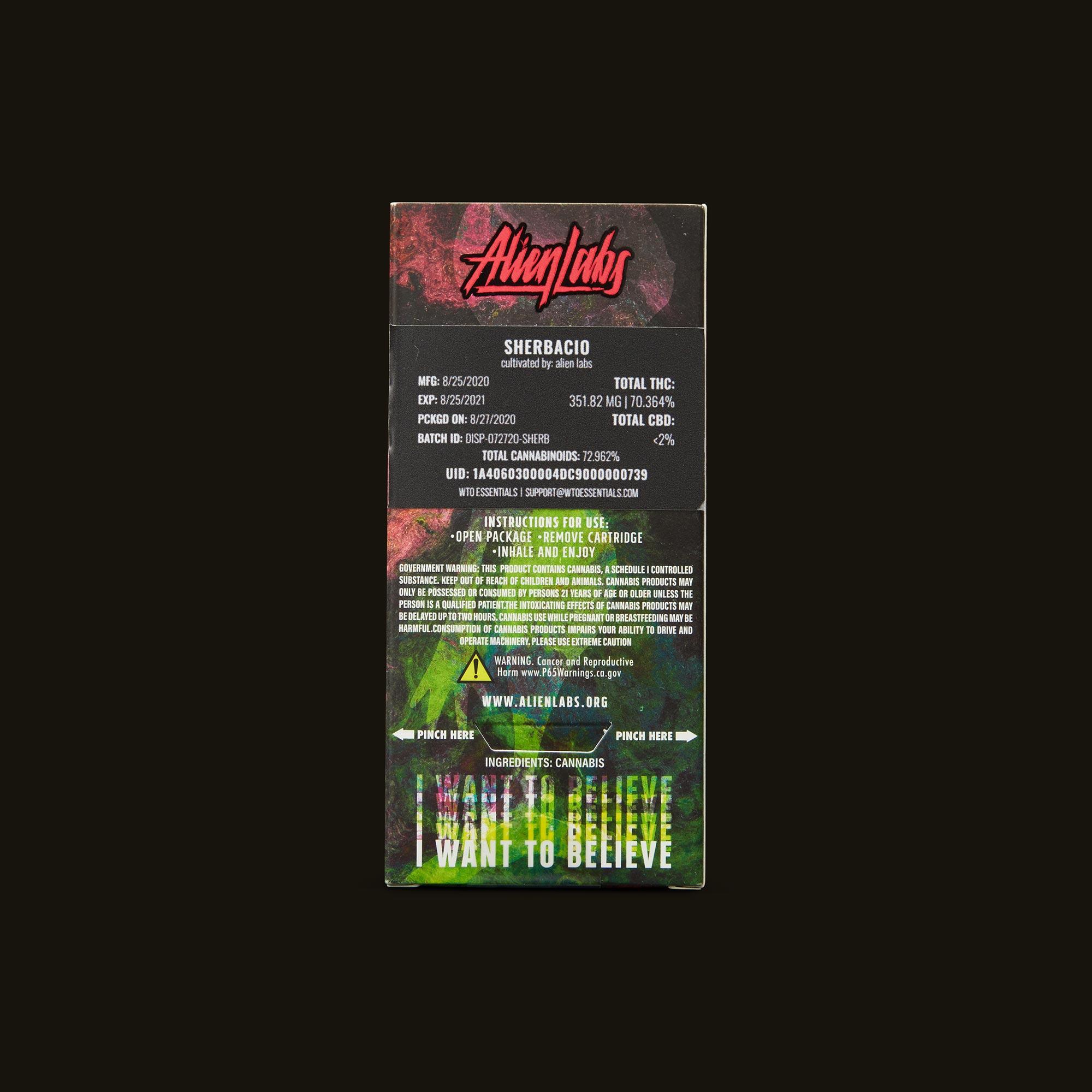 AlienLabs Sherbacio Live Resin Disposable Ingredients