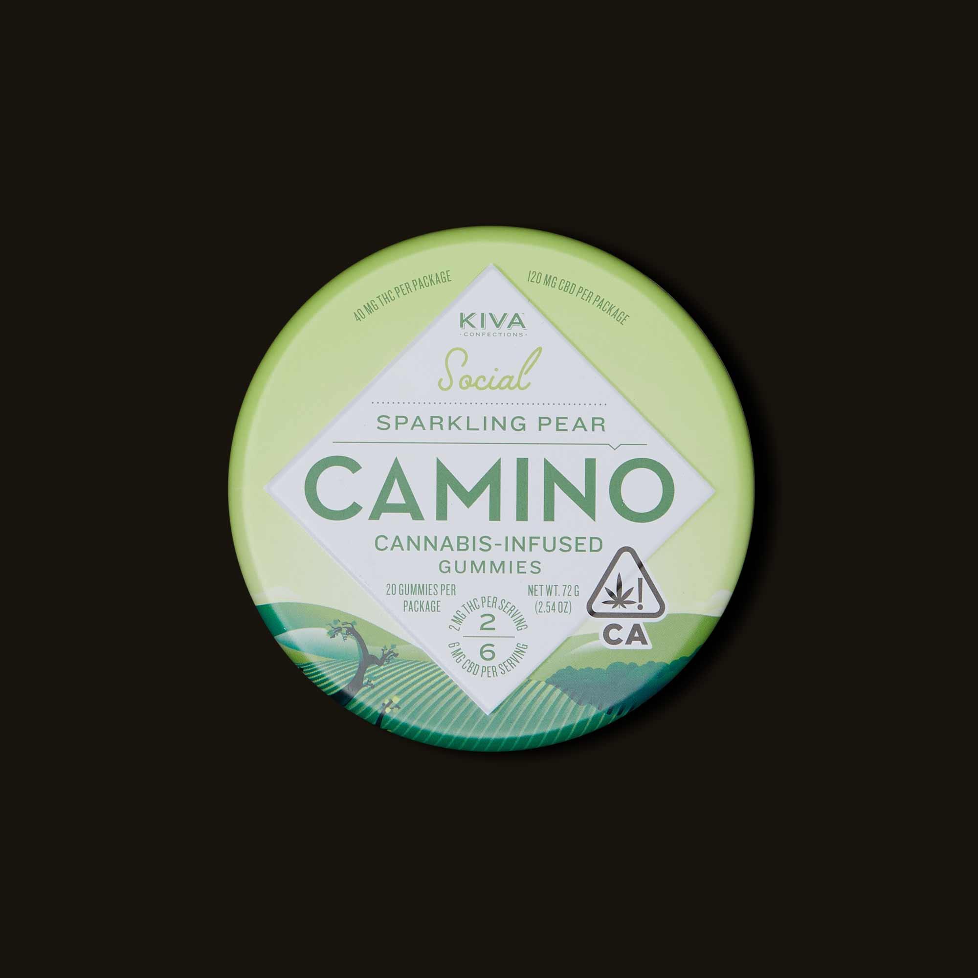 Camino Sparkling Pear Gummies - 20 gummies (40mg thc, 120mg CBD)