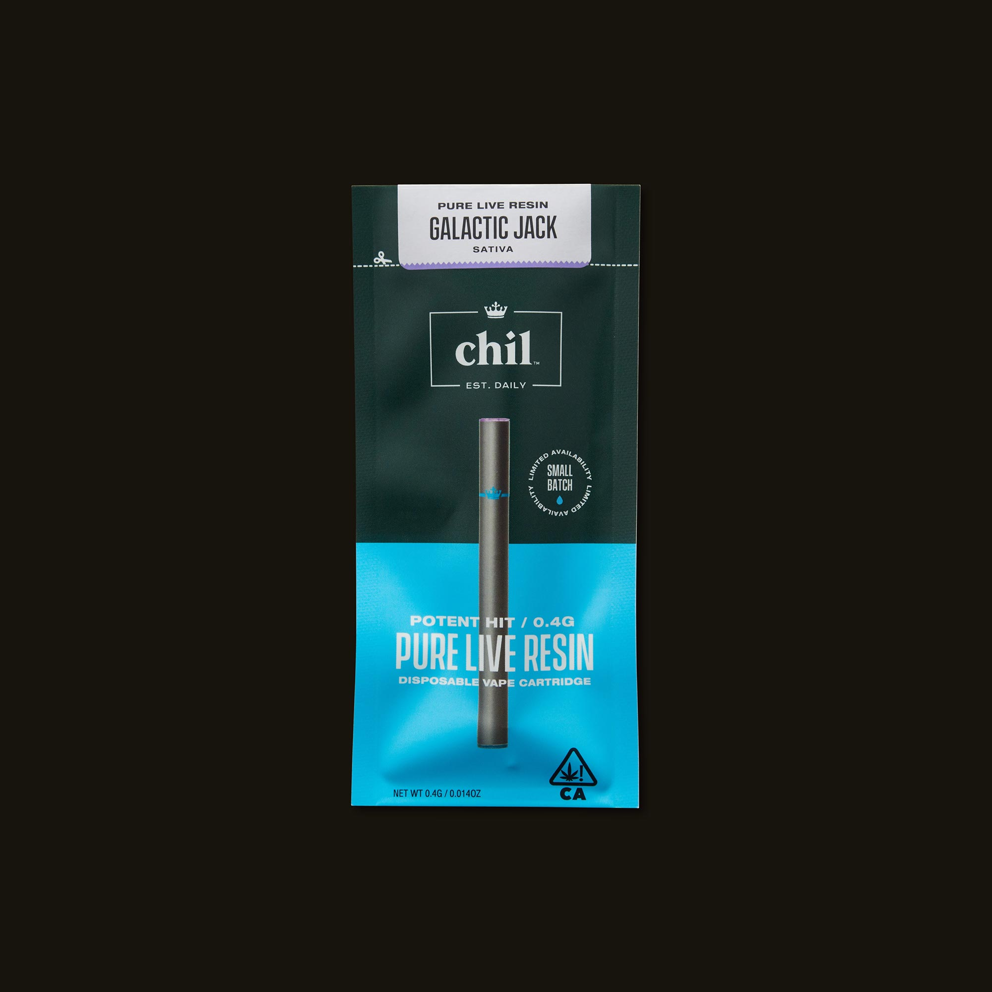 Chil Galactic Jack Pure Live Resin Disposable Vape Pen Front of Package