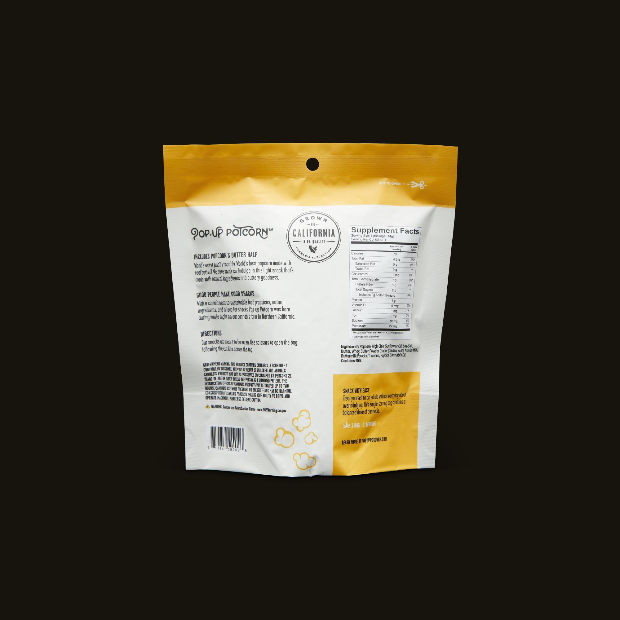 Pop-Up Potcorn Movie Theater Butter Popcorn 10:1 - Single Nutrition Facts