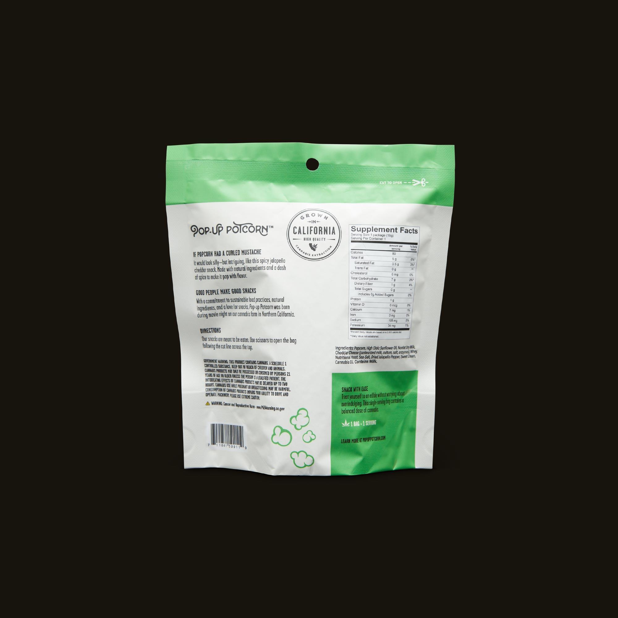 Pop-Up Potcorn Jalapeno Cheddar Popcorn 10:1 - Single Nutrition Packaging