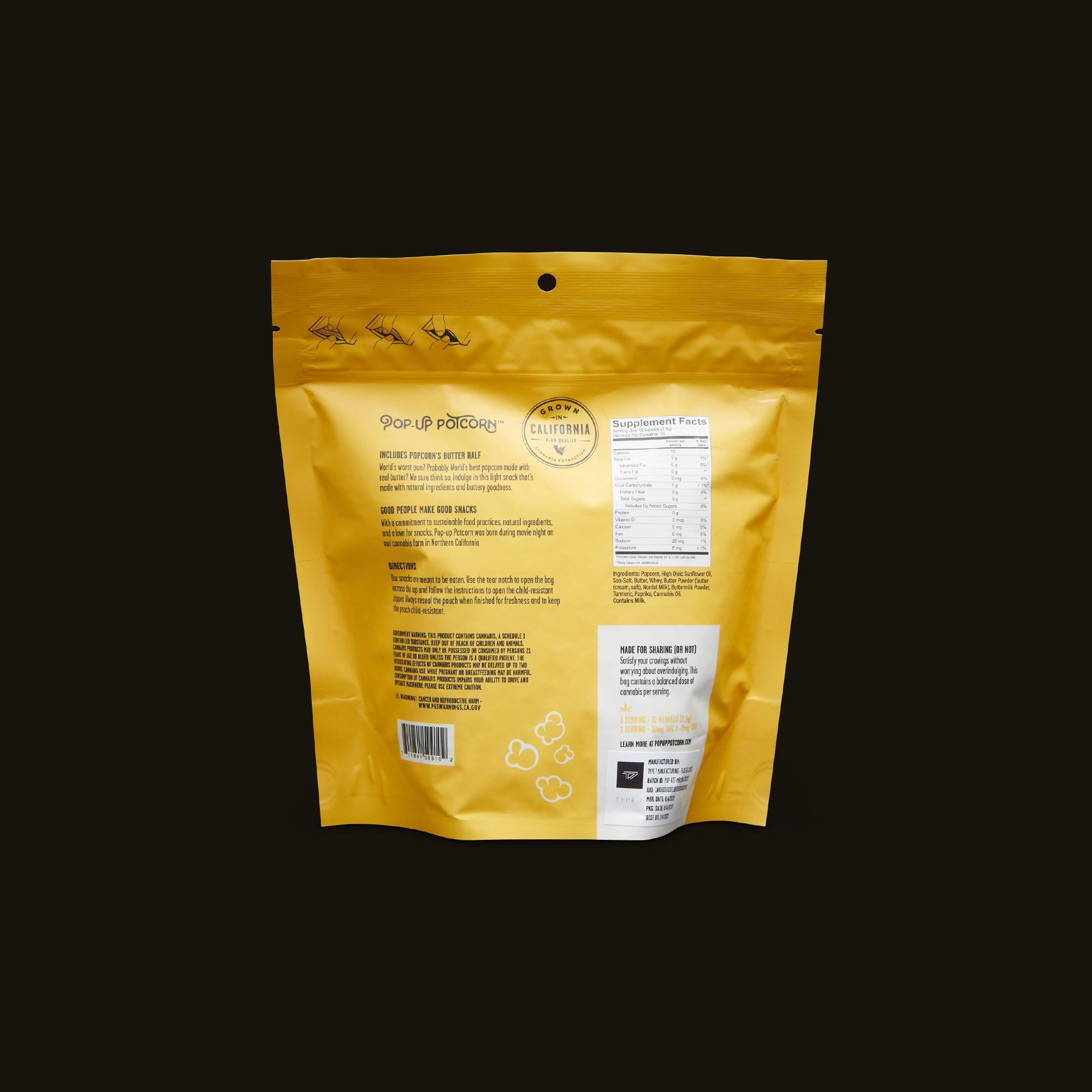 Pop-Up Potcorn Movie Theater Butter Popcorn 10:1 - 10 Servings Nutrition Facts
