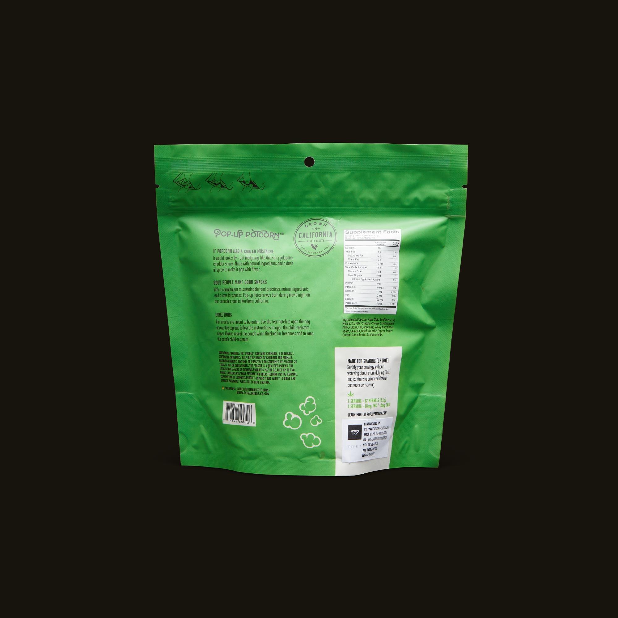Pop-Up Potcorn Jalapeno Cheddar Popcorn 10:1 - 10 Servings Nutrition Facts
