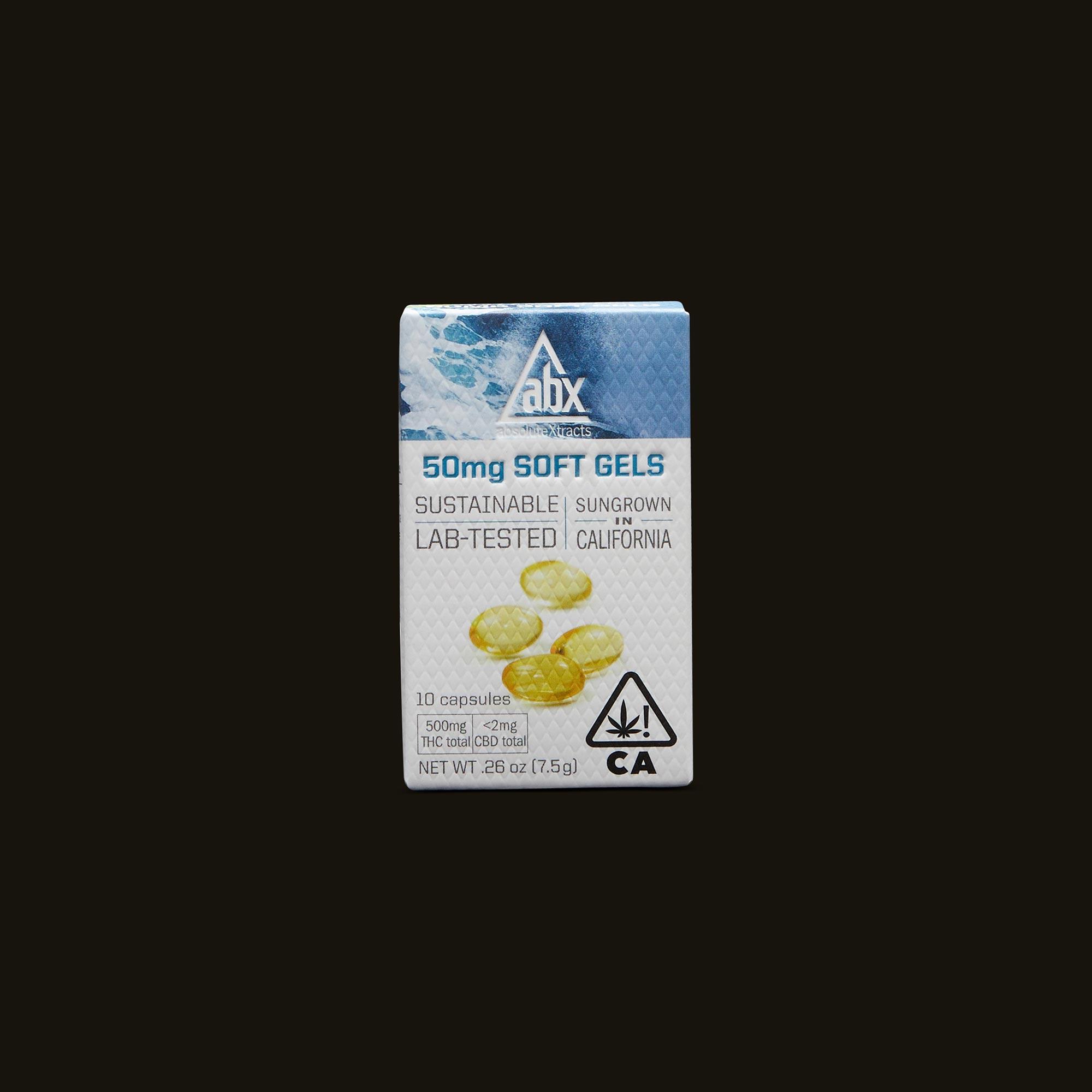 Box of 50mg Soft Gel THC capsules