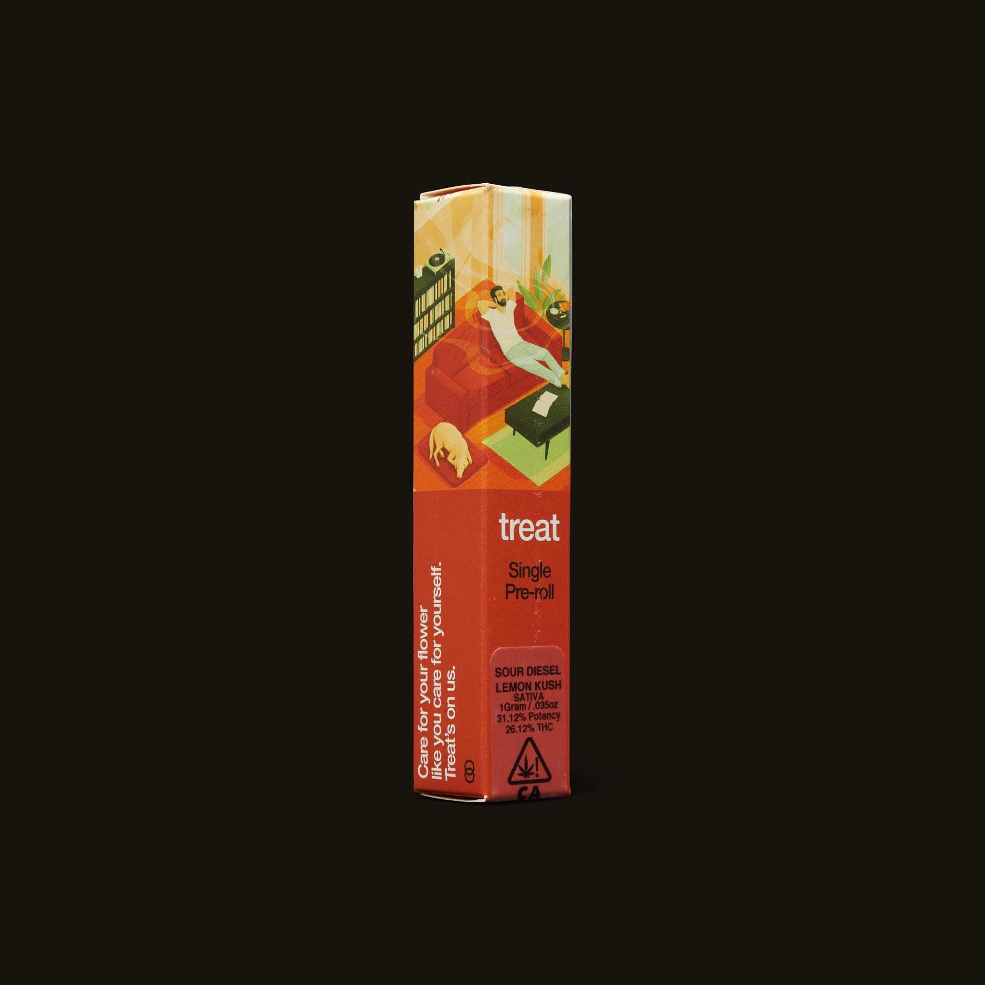 treat Sour Diesel Lemon Kush Pre-Roll Side Packaging