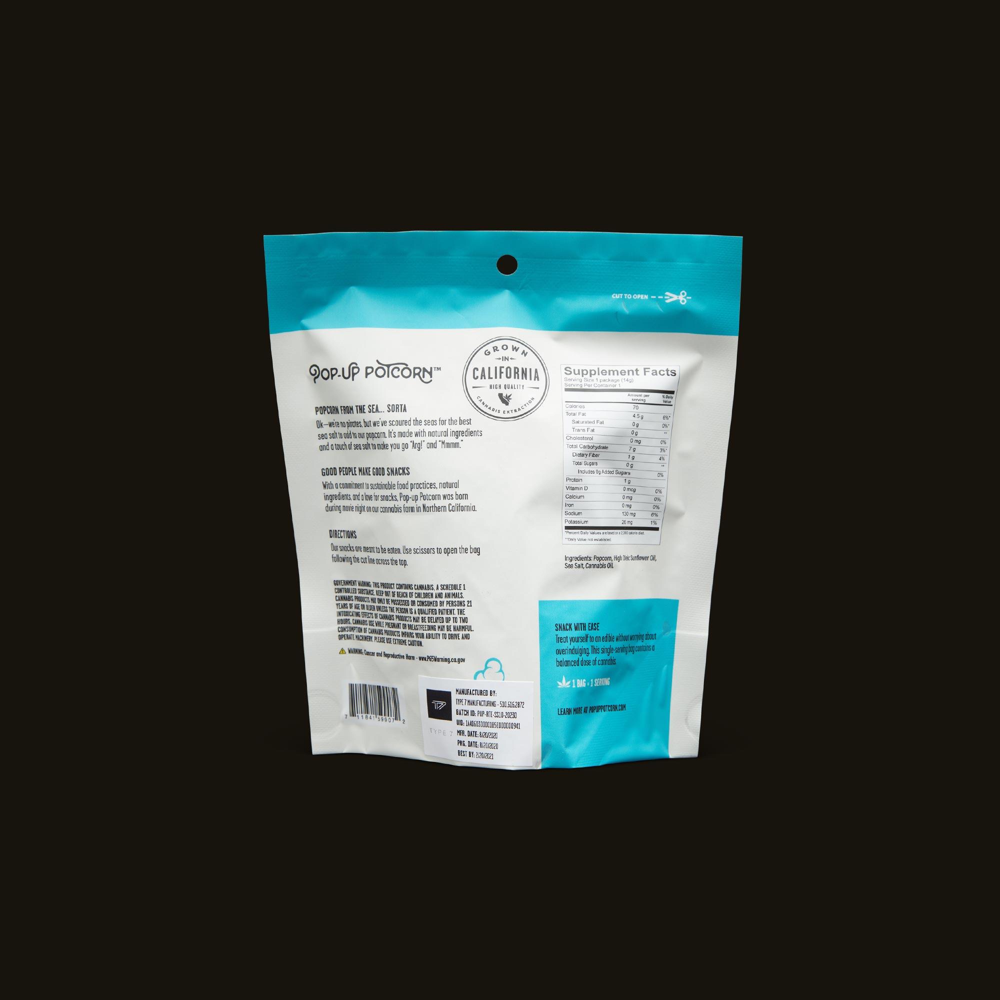Pop-Up Potcorn Sea Salt Popcorn 1:1 - Single Nutrition Facts