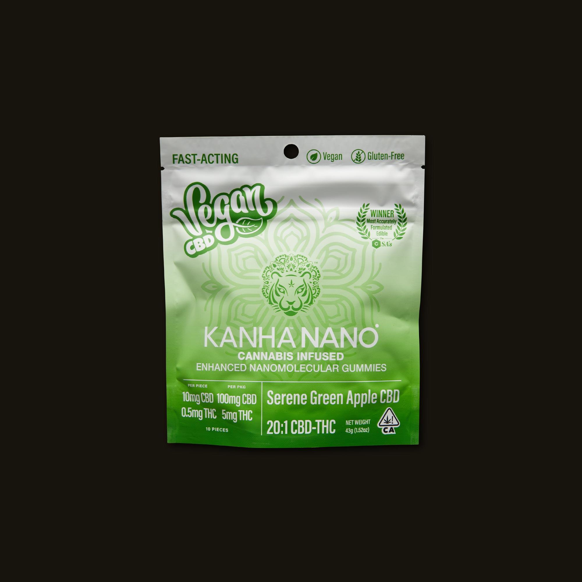 Kanha 20:1 Serene Green Apple Nano Gummies Front Packaging