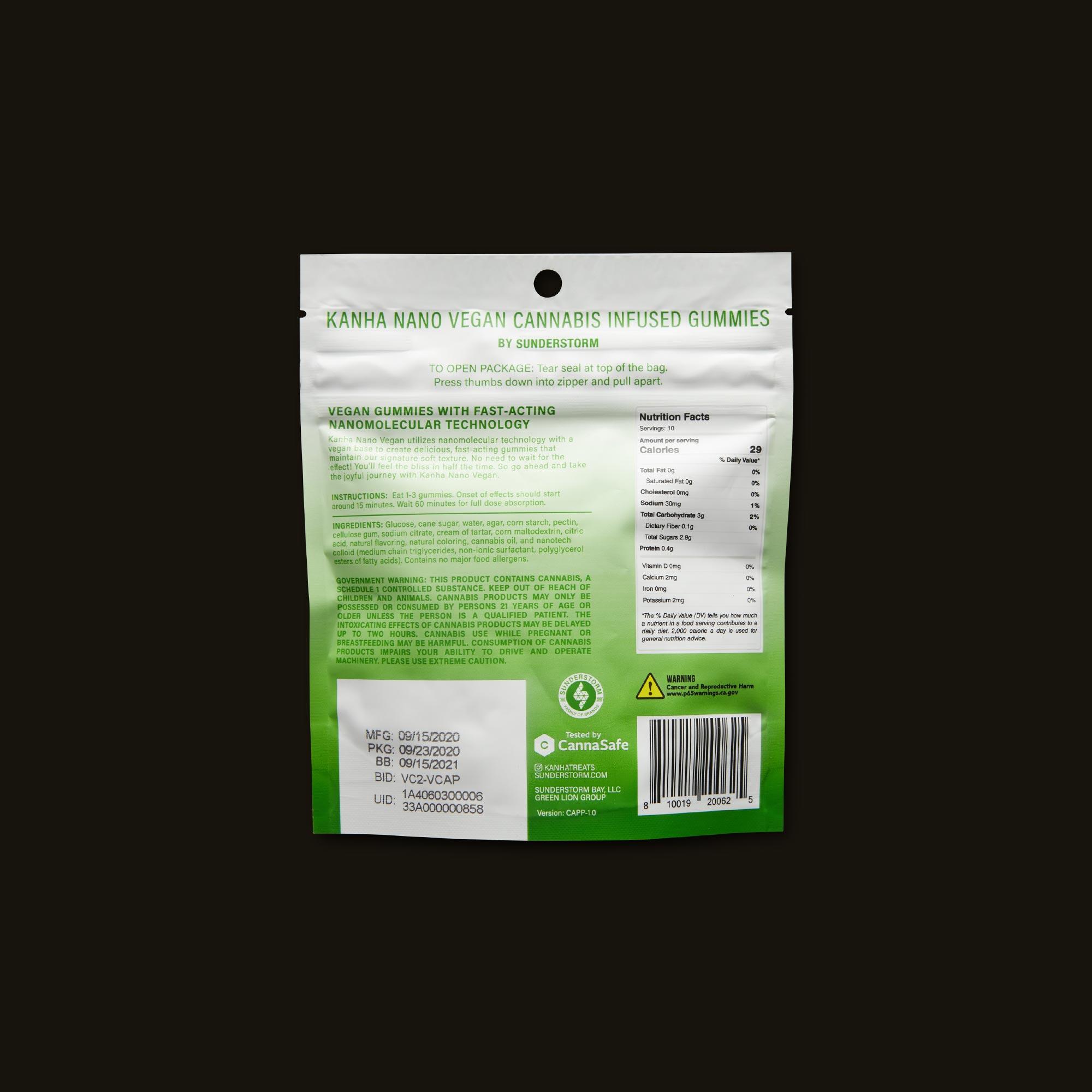 Kanha 20:1 Serene Green Apple Nano Gummies Ingredients