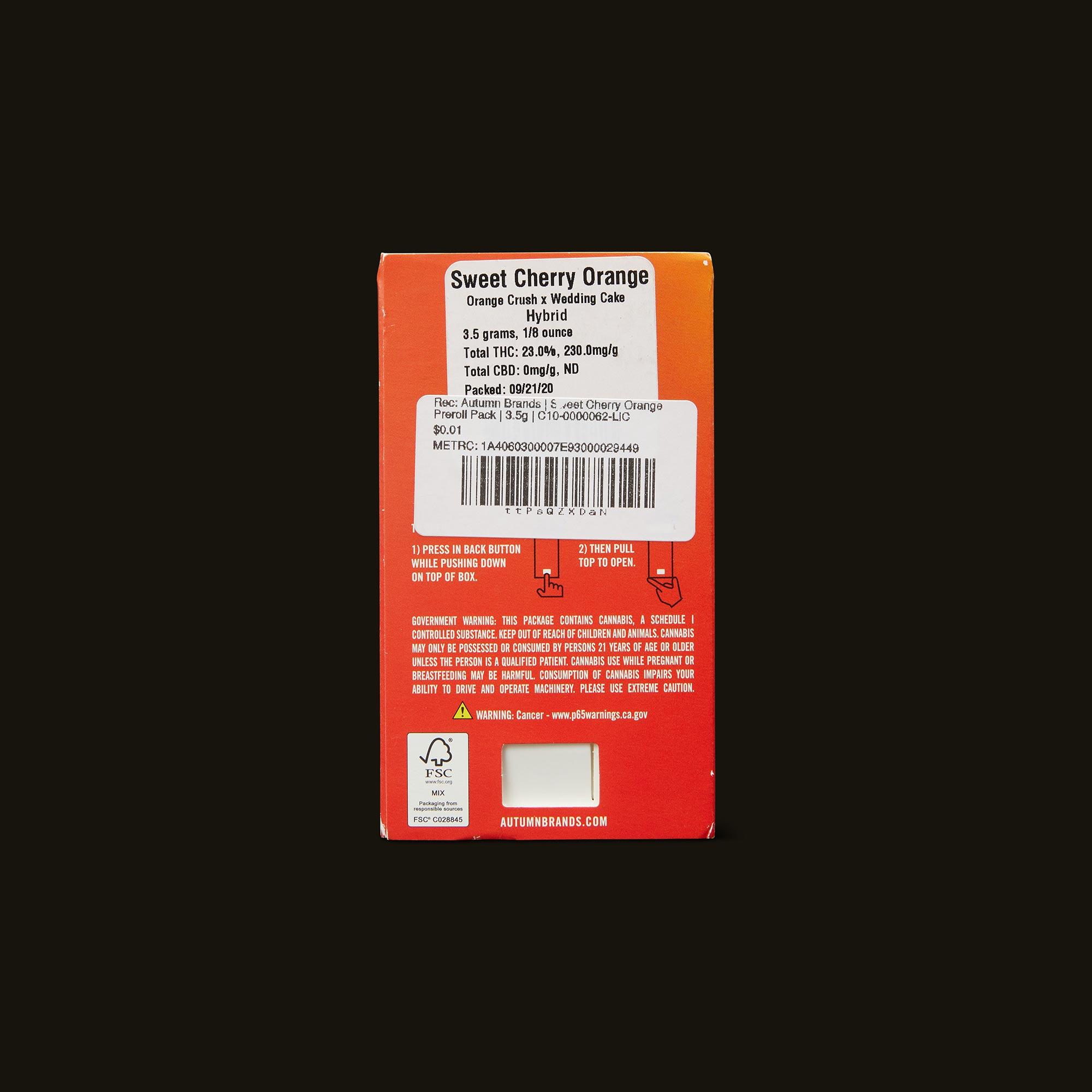 Autumn Brands Sweet Cherry Orange Pack Back Packaging
