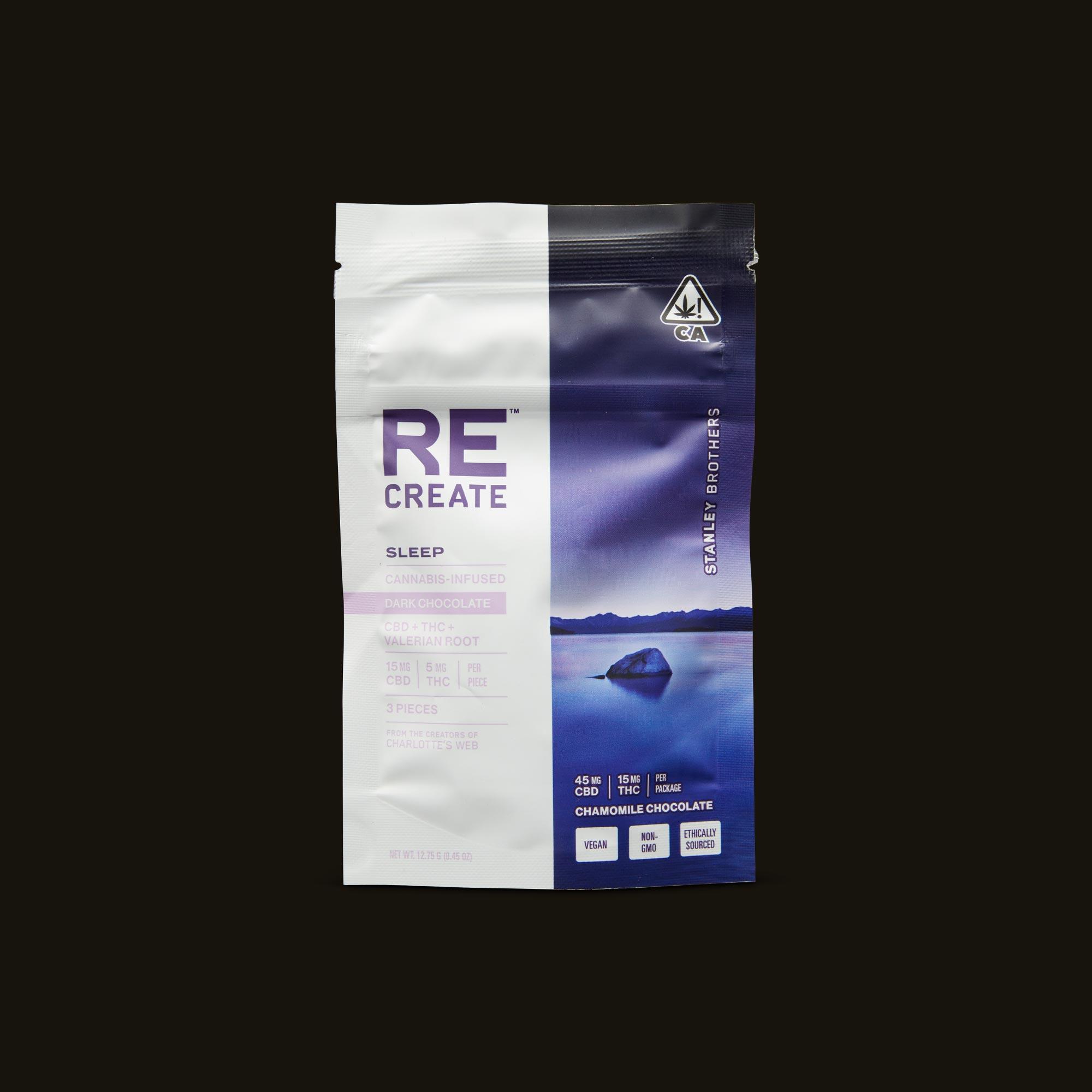 ReCreate Sleep Chocolate - 3 piece Front Packaging