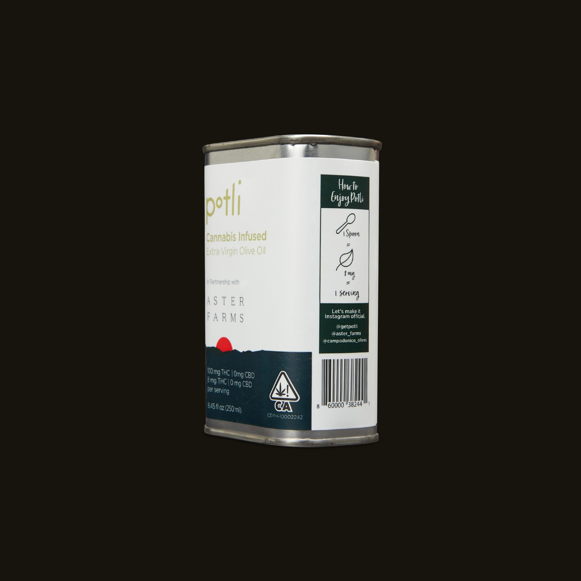 Aster Farms Potli Infused Olive Oil Side Packaging