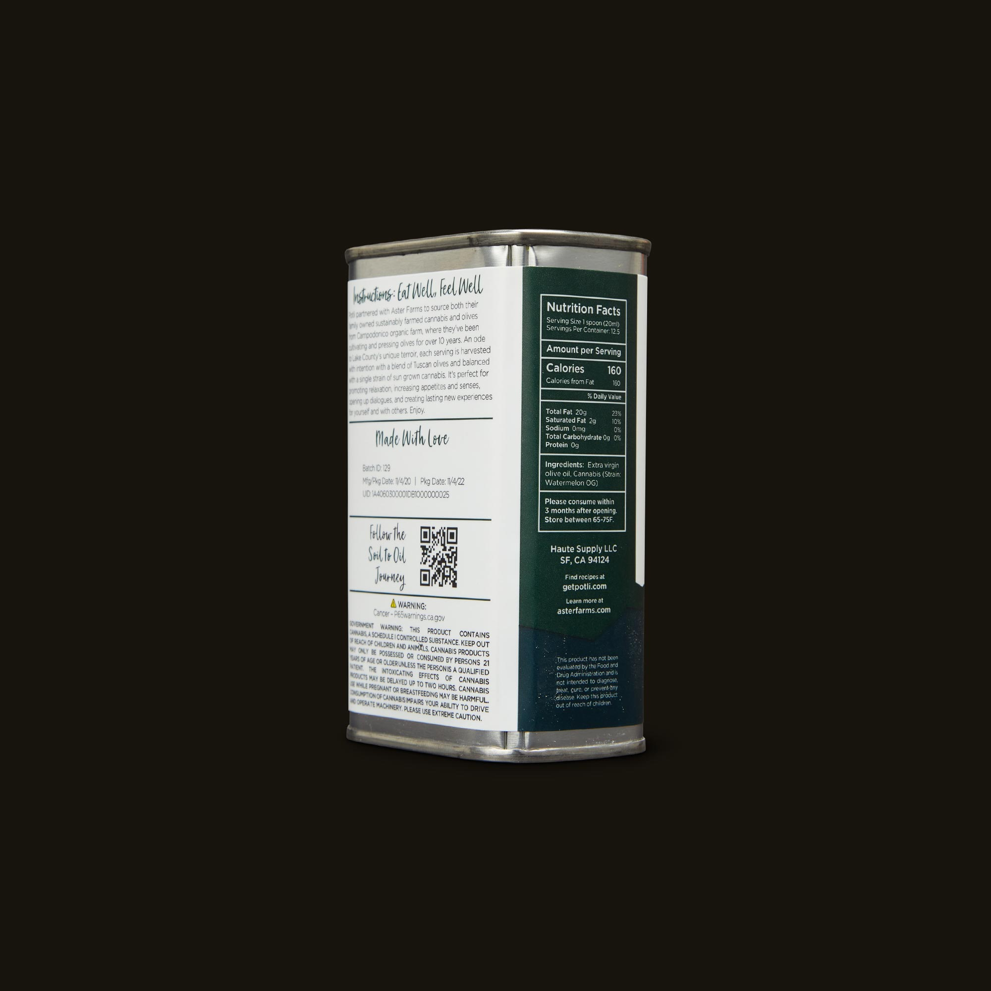 Aster Farms Potli Infused Olive Oil Ingredients