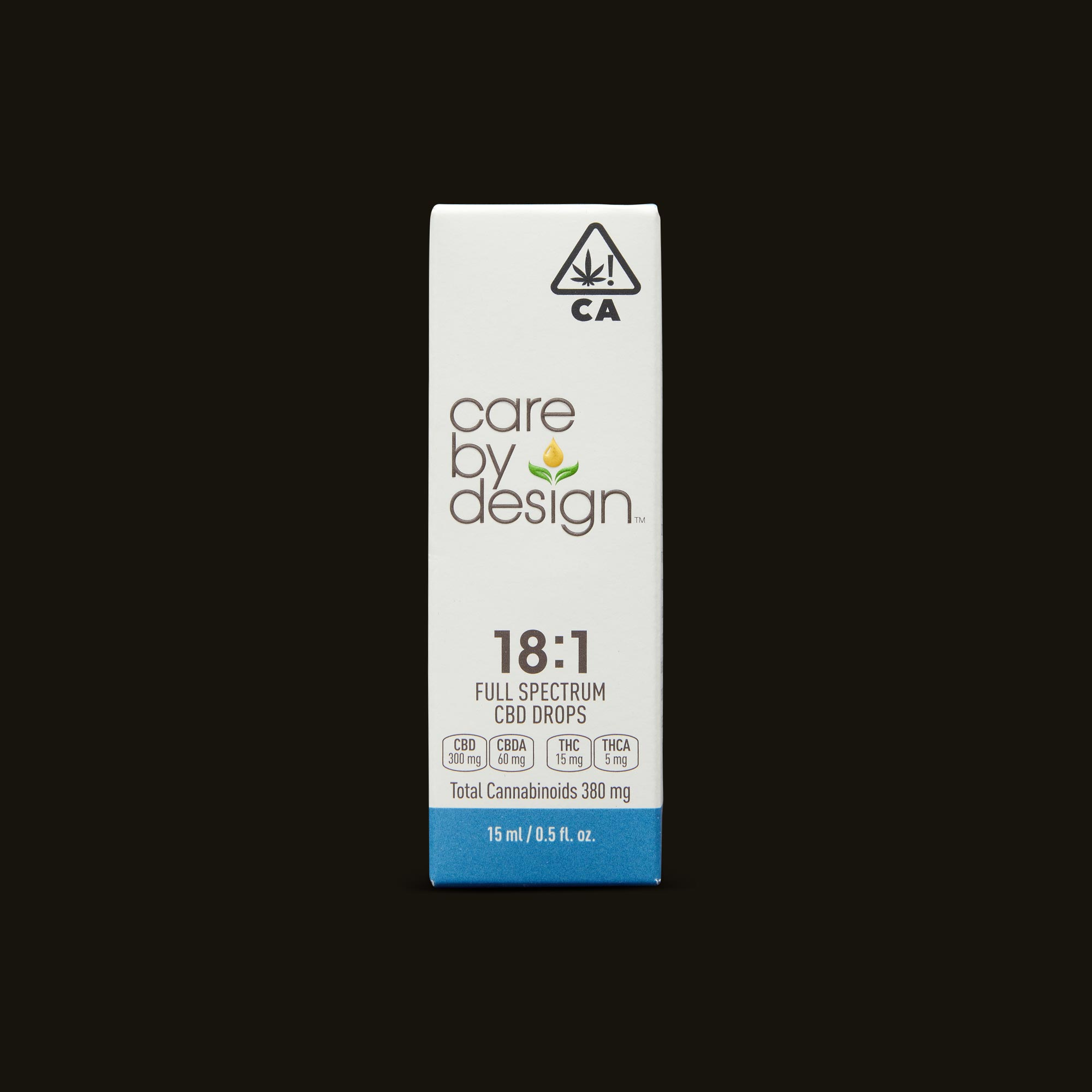 Care By Design 18:1 Full Spectrum CBD Drops - 0.5oz Front Packaging