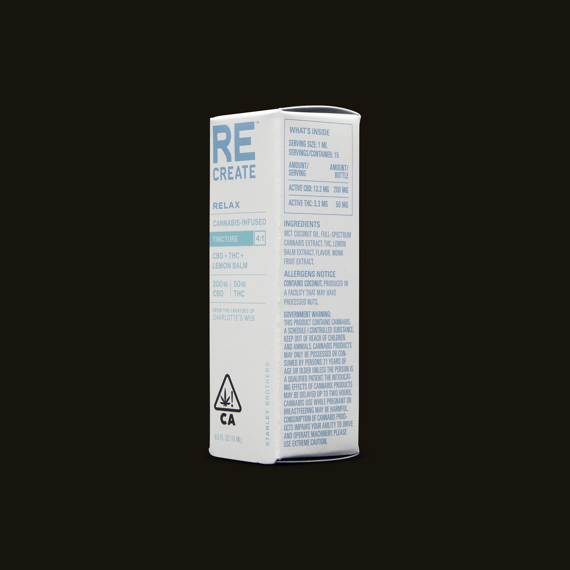 ReCreate Relax Tincture - 15ml Ingredients