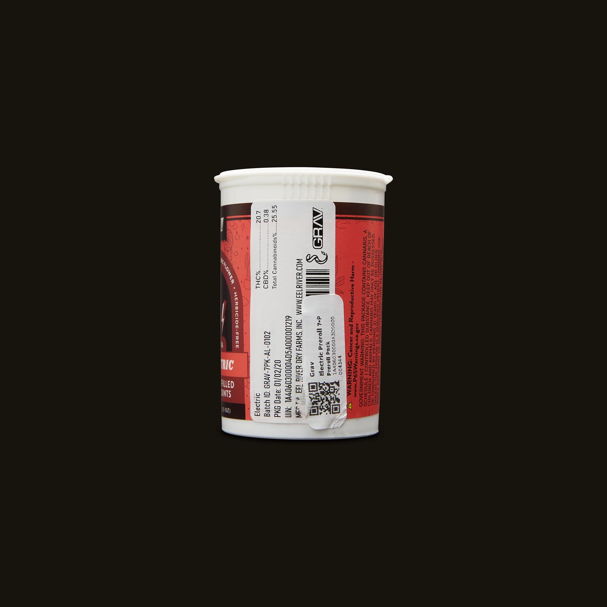 GRAV Electric Pre-Roll 7-Pack Side Packaging