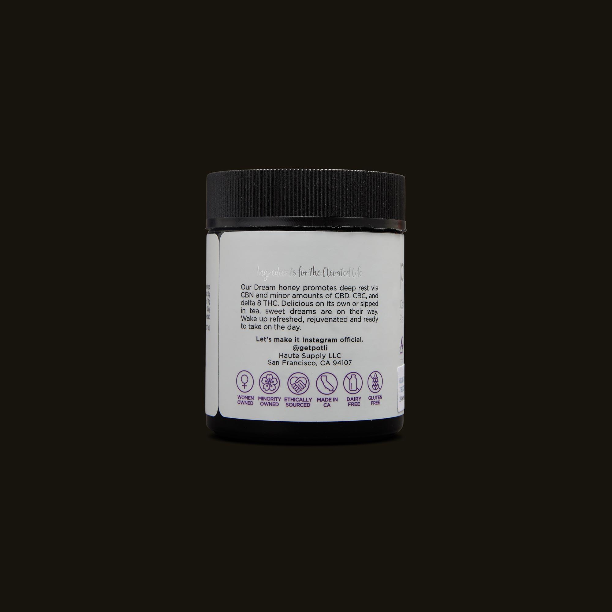 Potli Infused Dream Honey Back Packaging