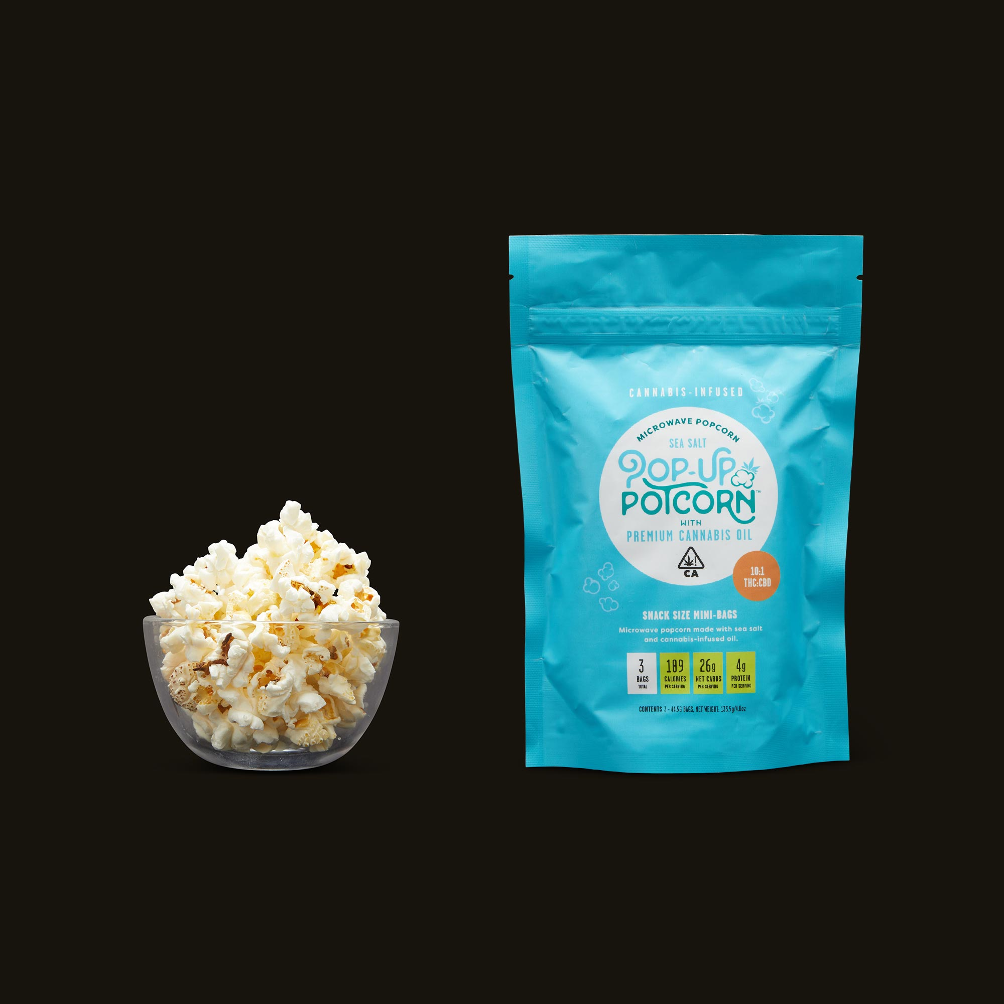 Pop-Up Potcorn Sea Salt Popcorn 10:1 3-Pack