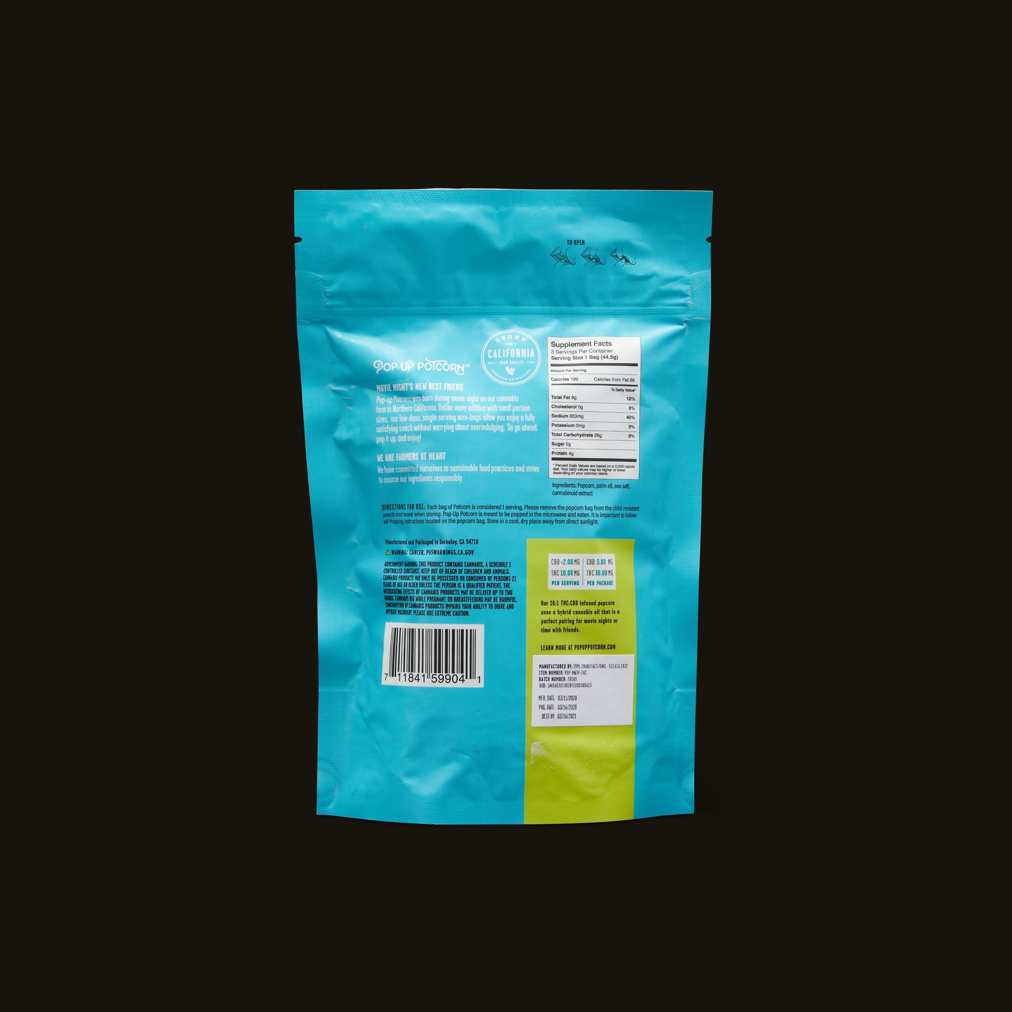 Pop-Up Potcorn Sea Salt Popcorn 10:1 3-Pack Ingredients