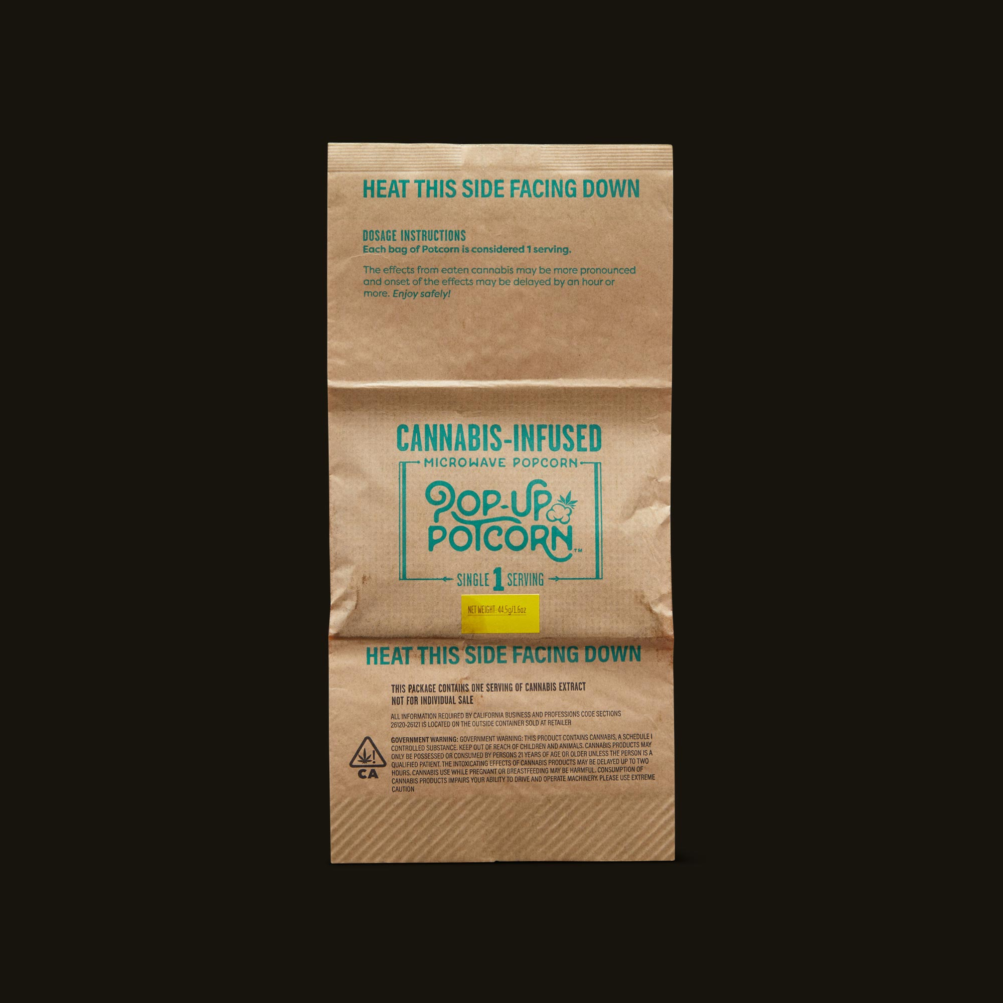 Pop-Up Potcorn Sea Salt Popcorn 10:1 3-Pack Front Inner Packaging