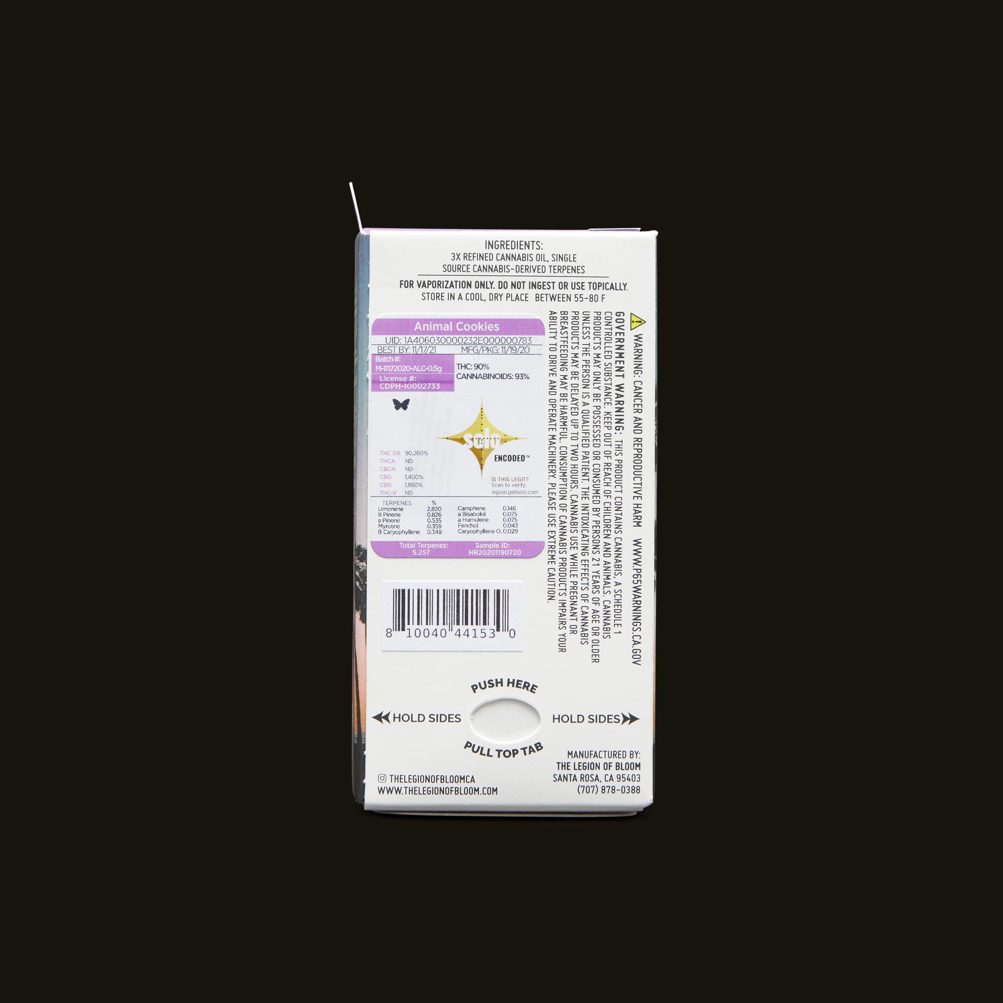 Legion of Bloom Animal Cookies Monarch .5g Back Packaging