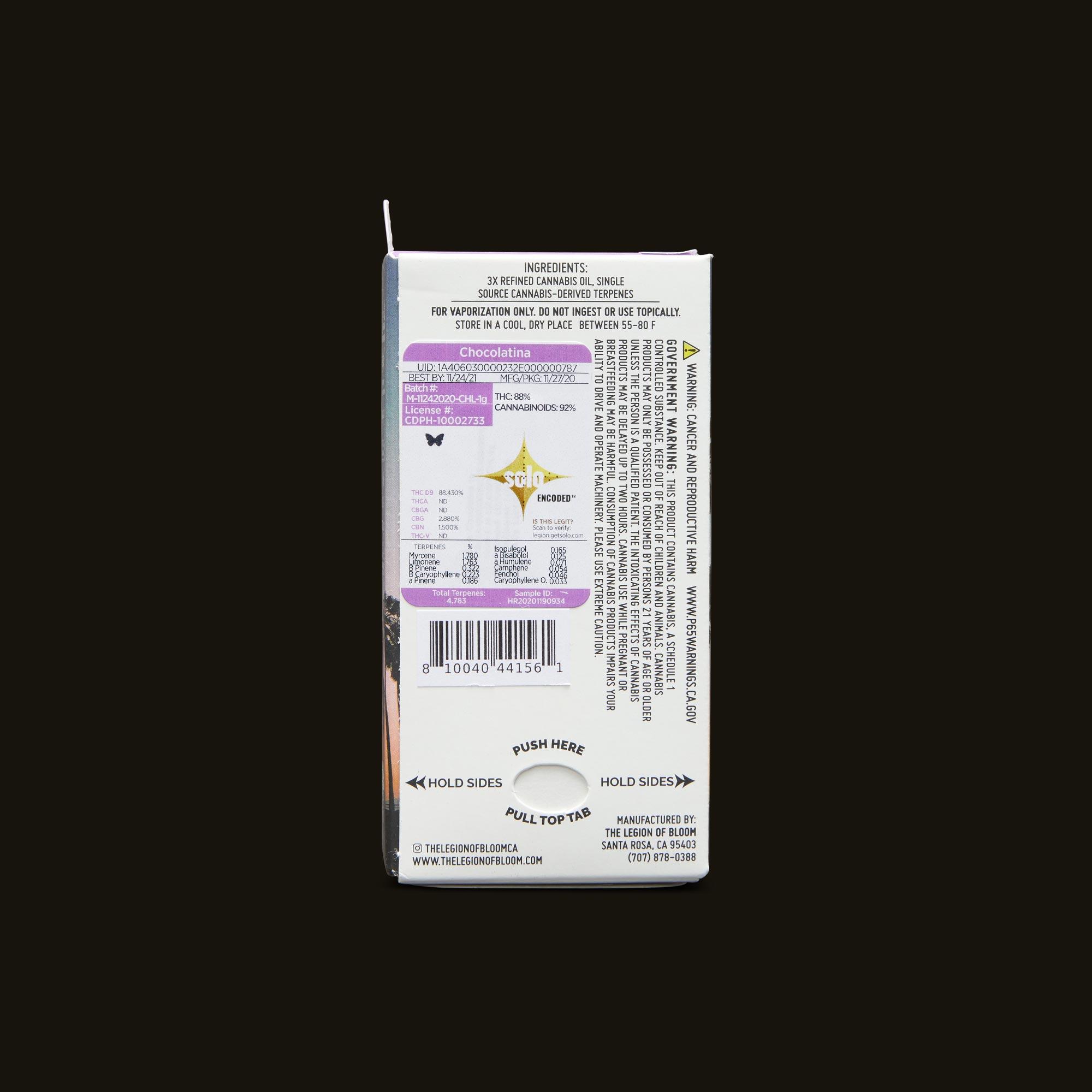 Legion of Bloom Chocolatina Monarch 1g Back Packaging