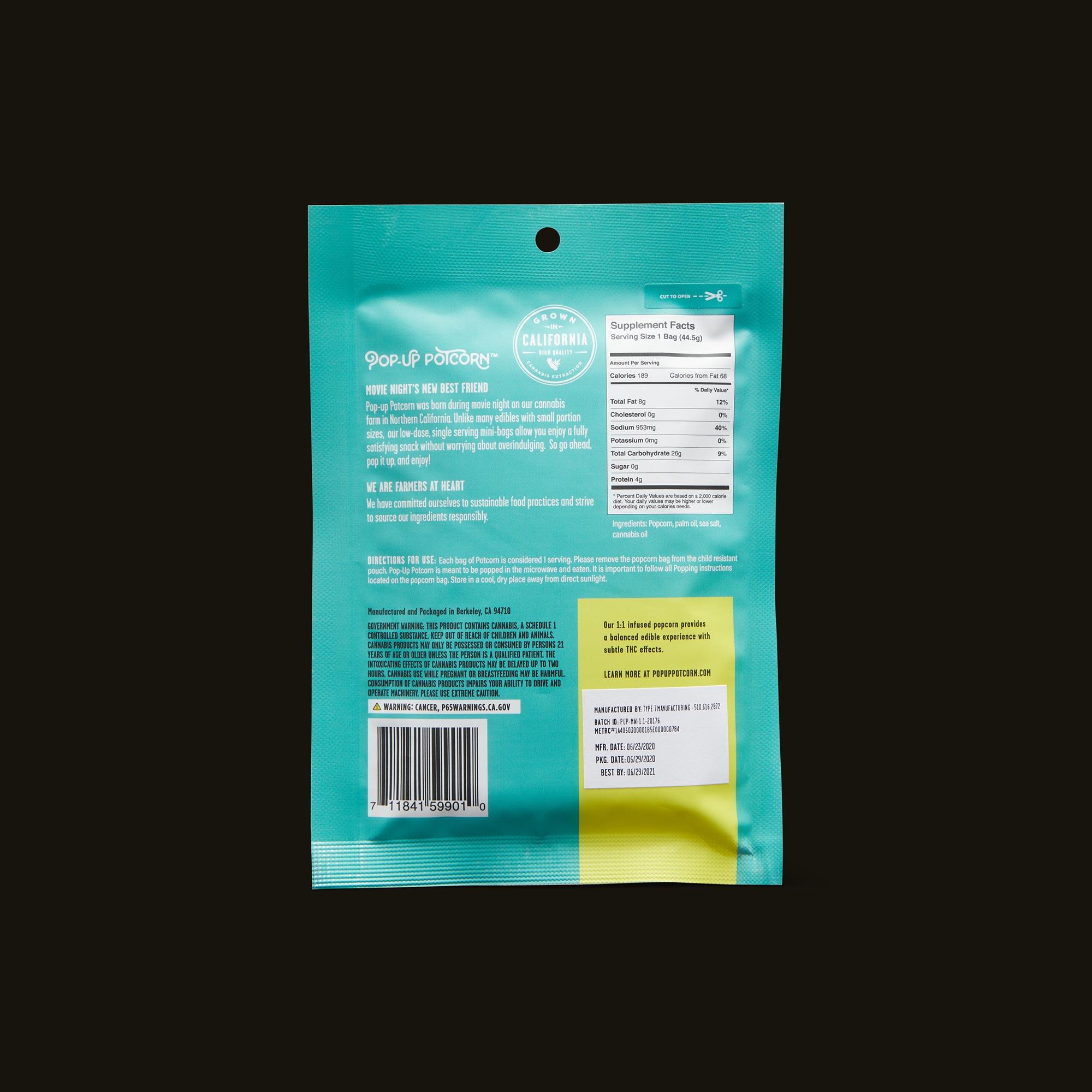 Pop-Up Potcorn Sea Salt Microwave Popcorn 1:1 - Single Nutrition Facts