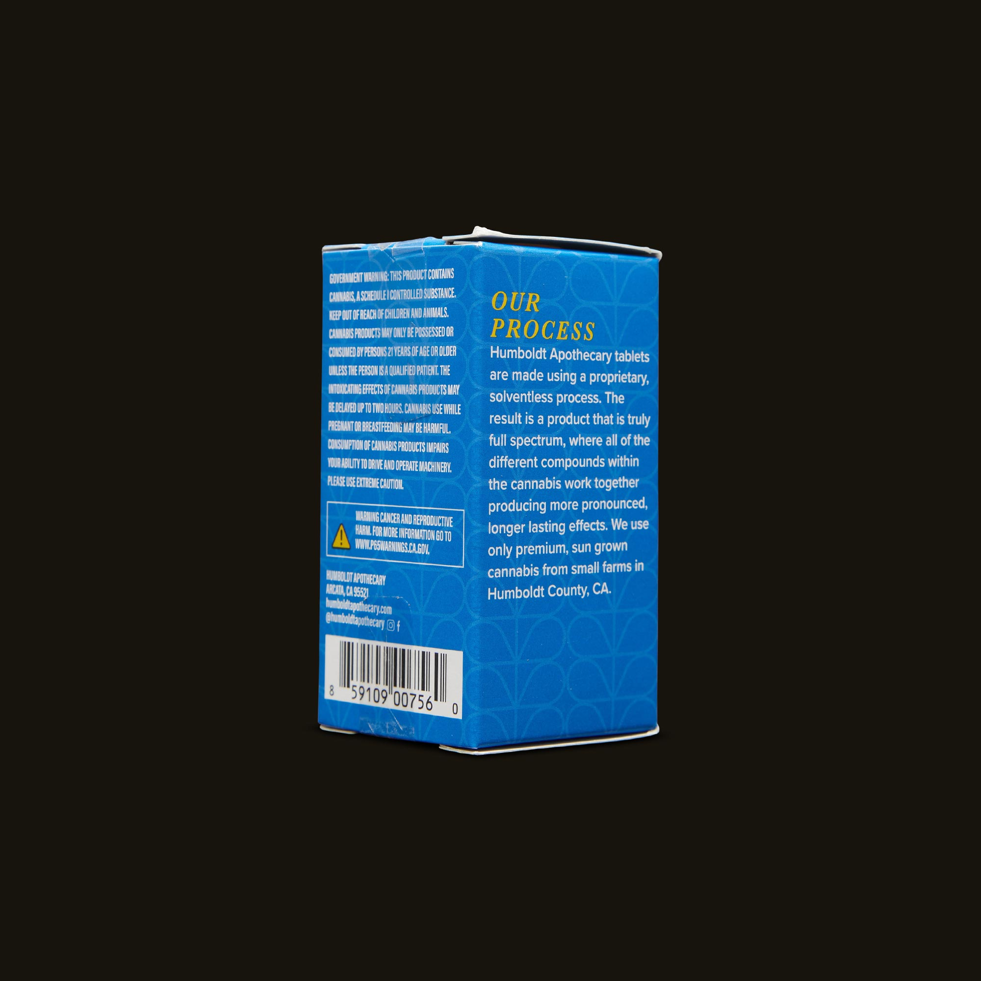 Humboldt Apothecary Indica Tablets Back Packaging