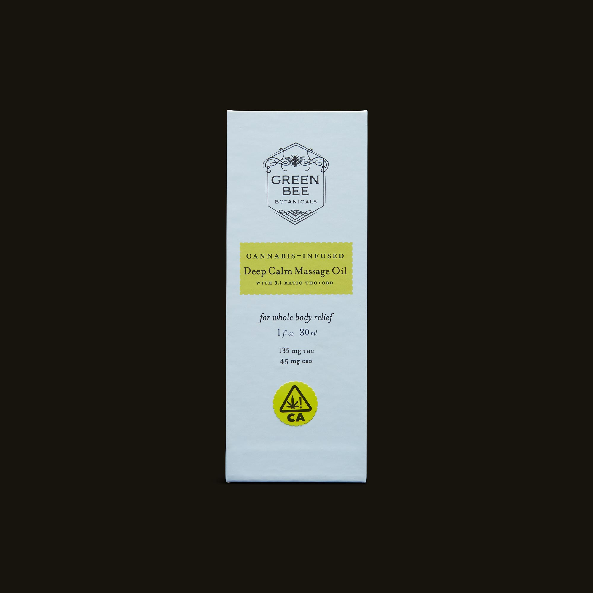 Green Bee Botanicals Deep Calm Massage and Body Oil Front Packaging