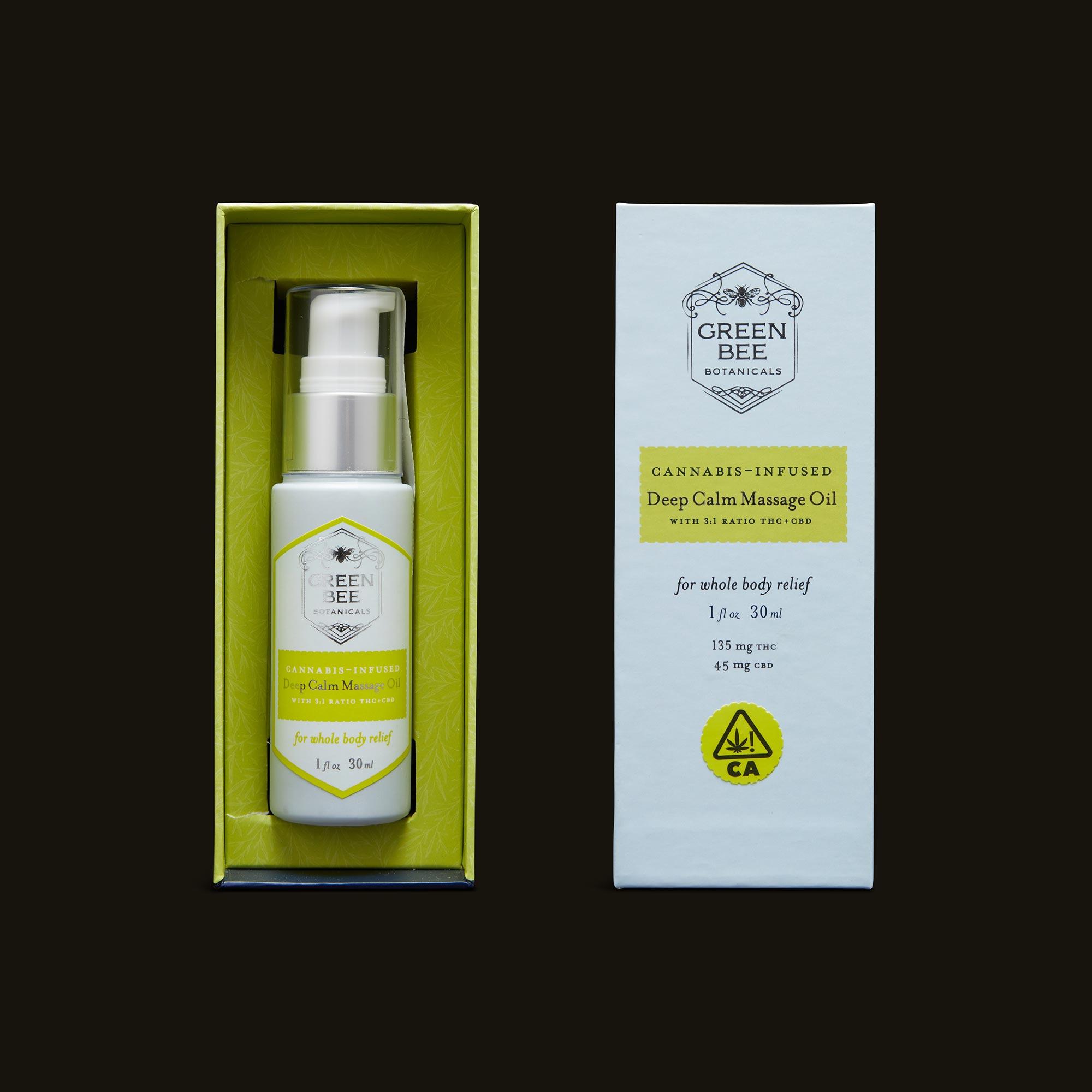 Green Bee Botanicals Deep Calm Massage and Body Oil Open Packaging