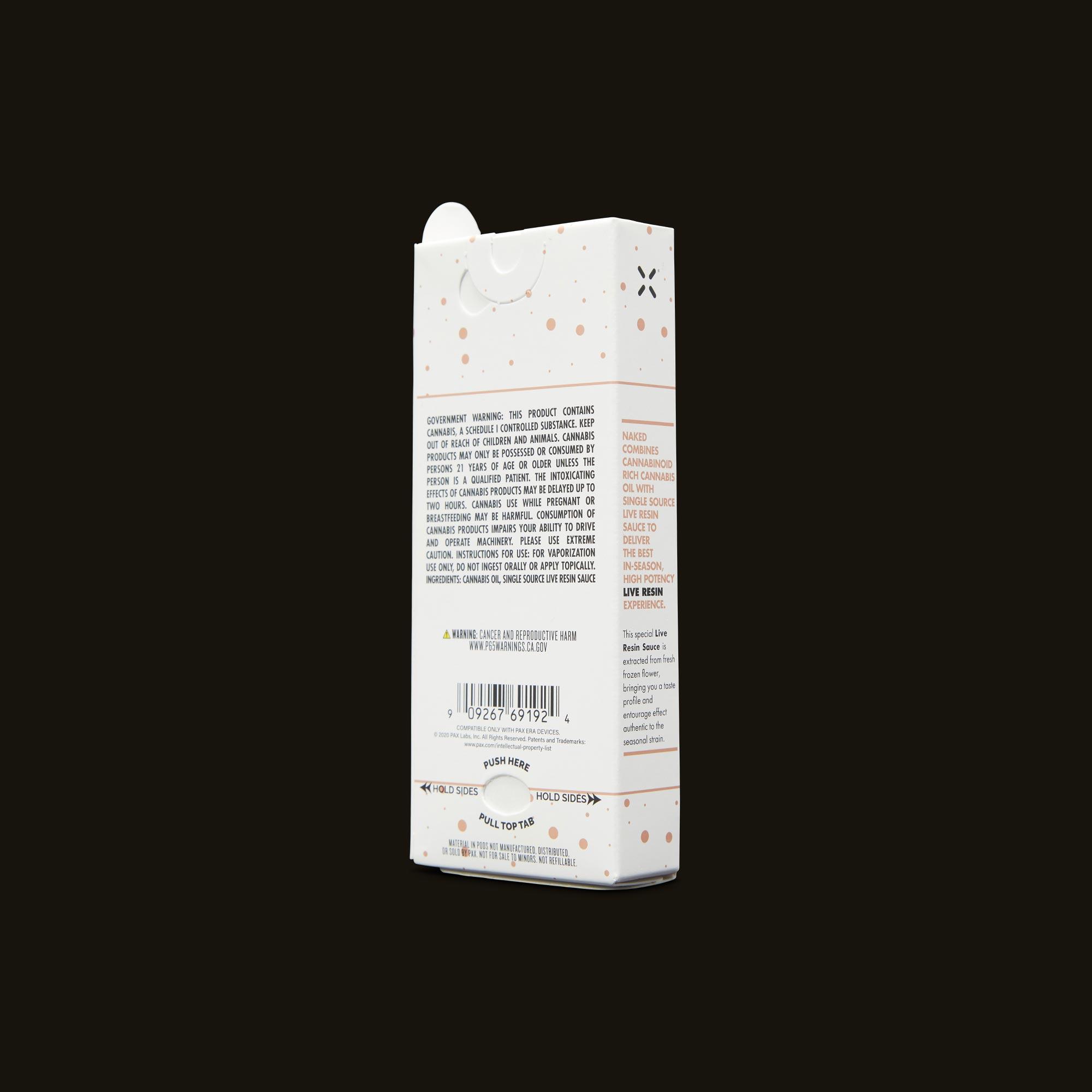 LEUNE Naked Tangie Live Resin PAX Era Pod Back Packaging