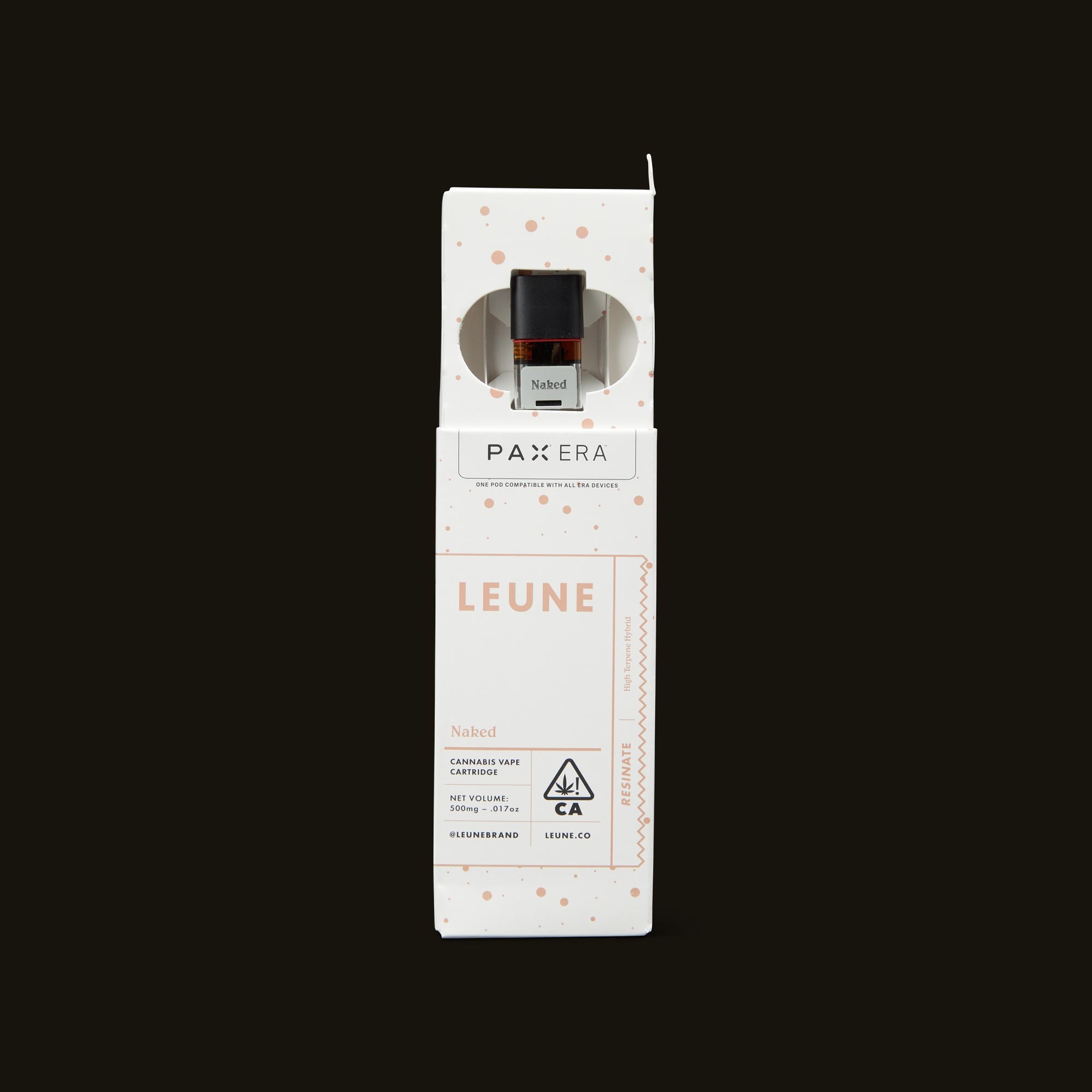 LEUNE Naked Tangie Live Resin PAX Era Pod Open Packaging