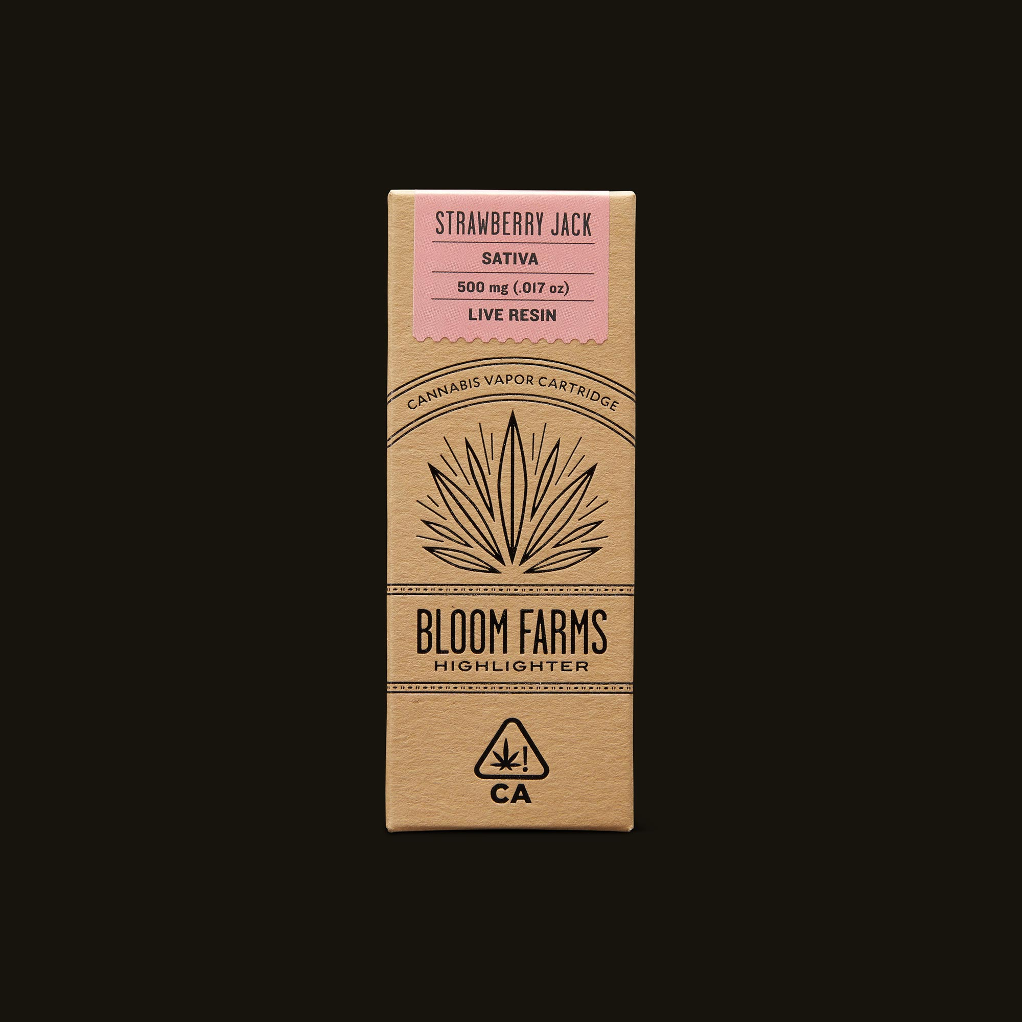 Bloom Farms Strawberry Jack Live Resin Cartridge Front Packaging