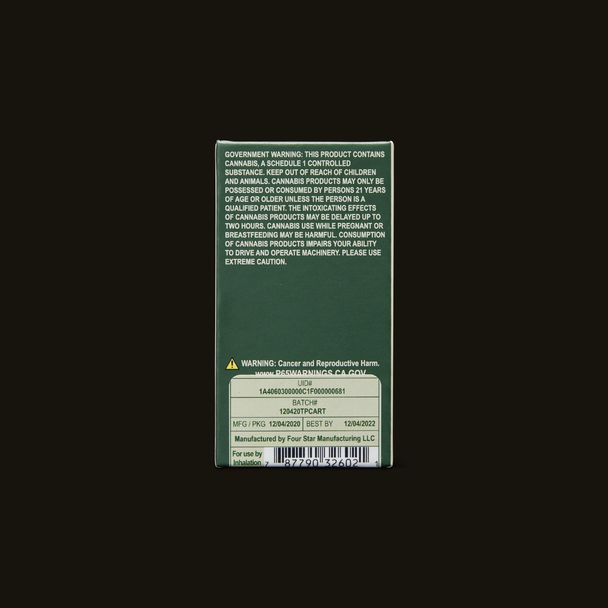 Cannabiotix (CBX) Tropicanna Live Resin Cartridge Back Packaging