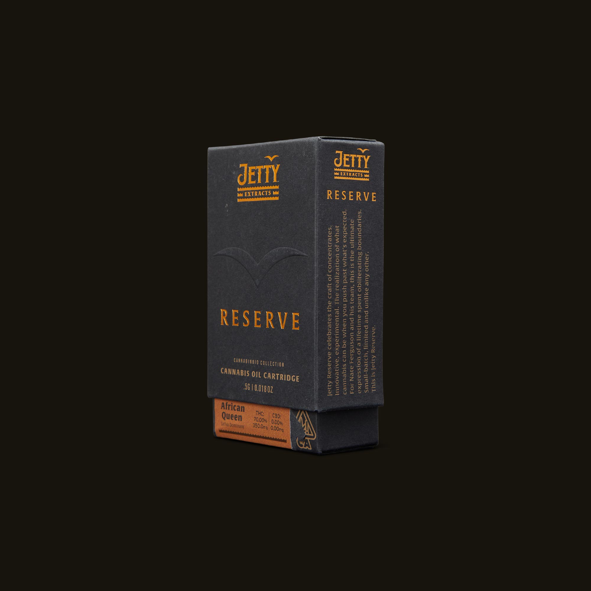 Jetty Extracts Reserve Vape Cartridge - African Queen Side Packaging