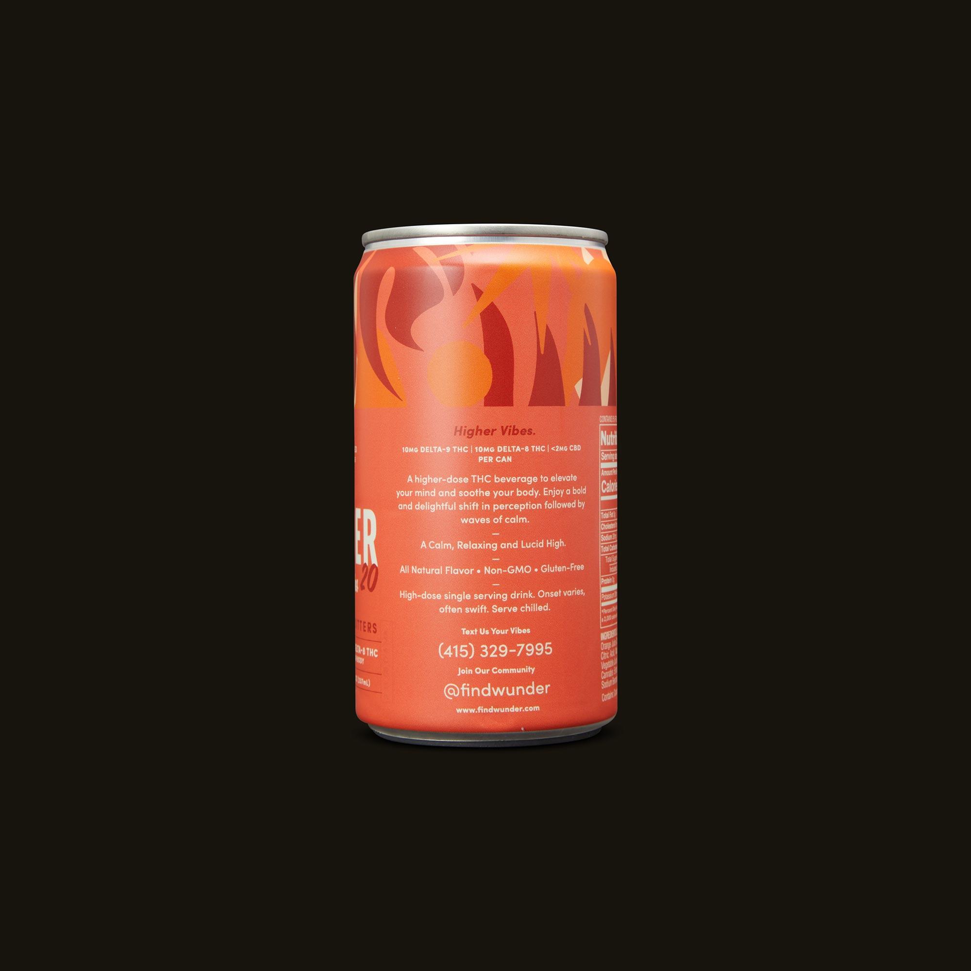Wunder Higher Vibes Blood Orange Bitters 4-Pack Side Can