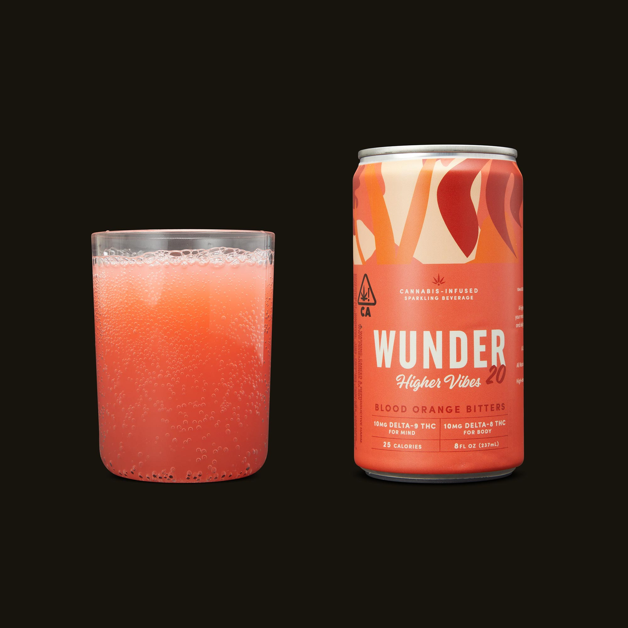 Wunder Higher Vibes Blood Orange Bitters 4-Pack Front Can