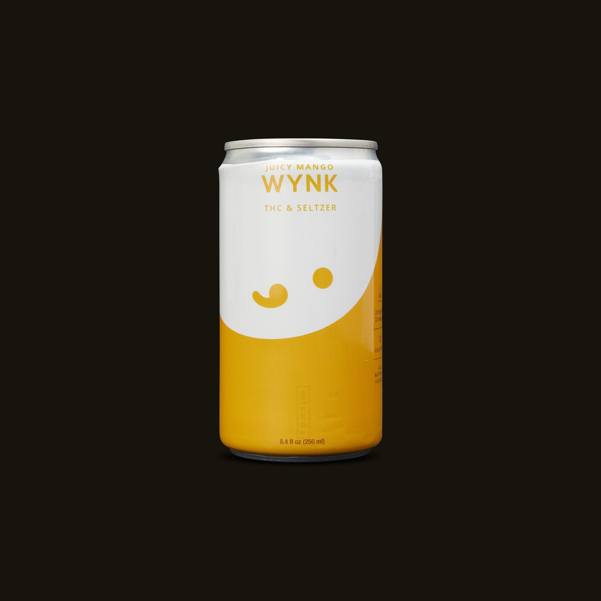 Juicy Mango Seltzer - One 8.4fl oz can (2.5mg THC, 2.5mg CBD)